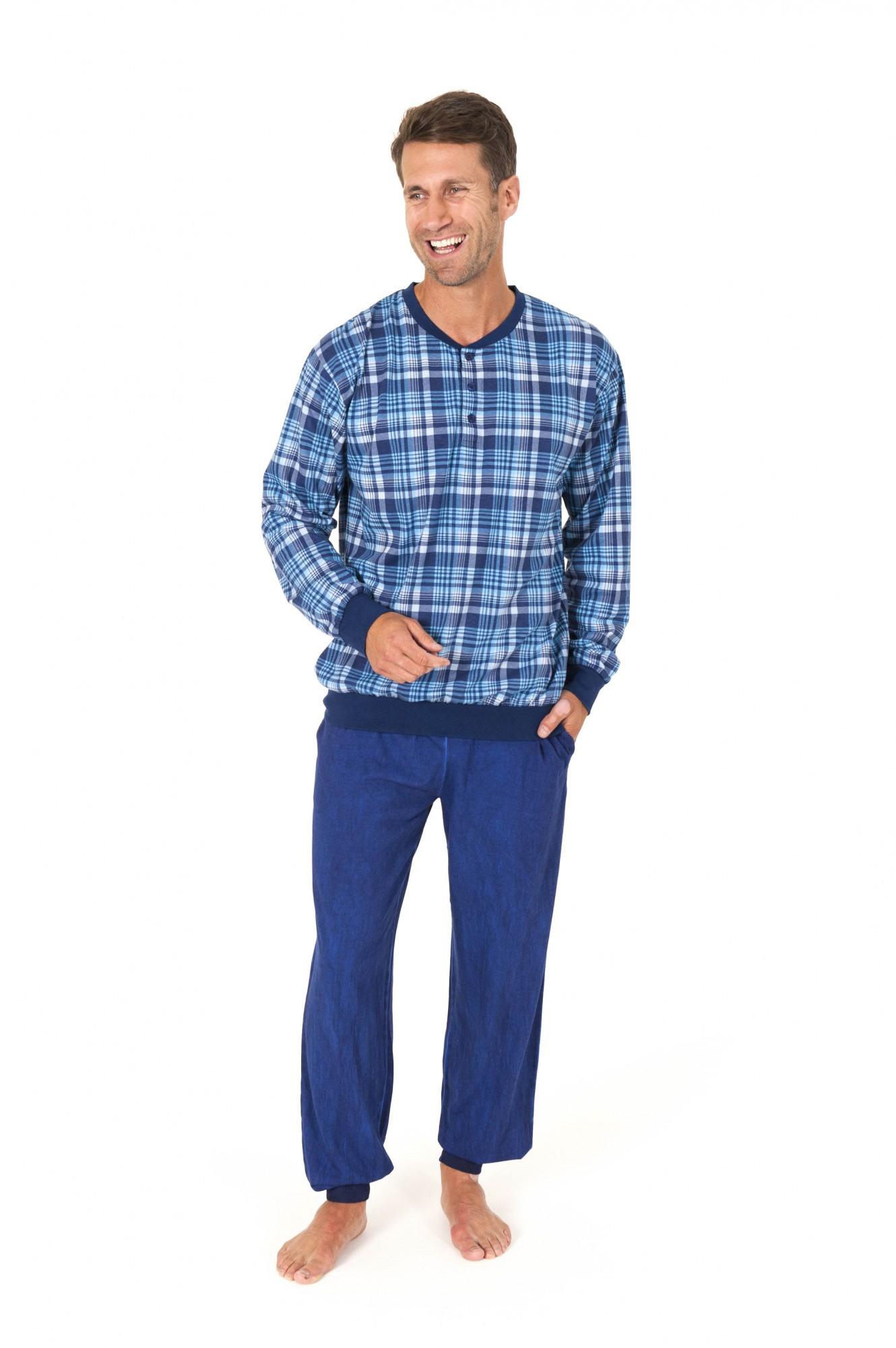 Toller Herren Pyjama Schlafanzug langarm kariert mit Bündchen – 58560