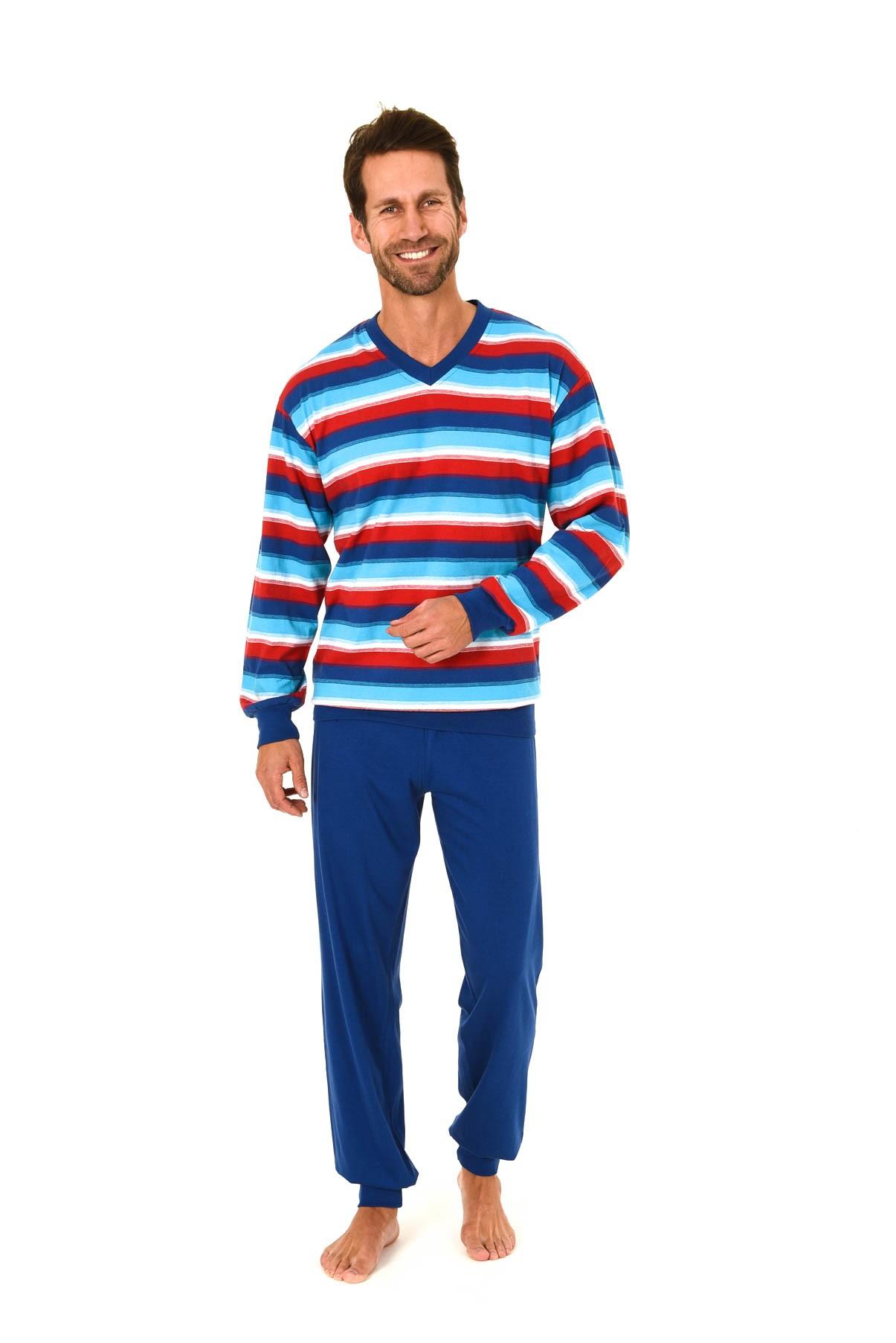 Herren Pyjama langarm mit Bündchen in Streifen Optik – 58477