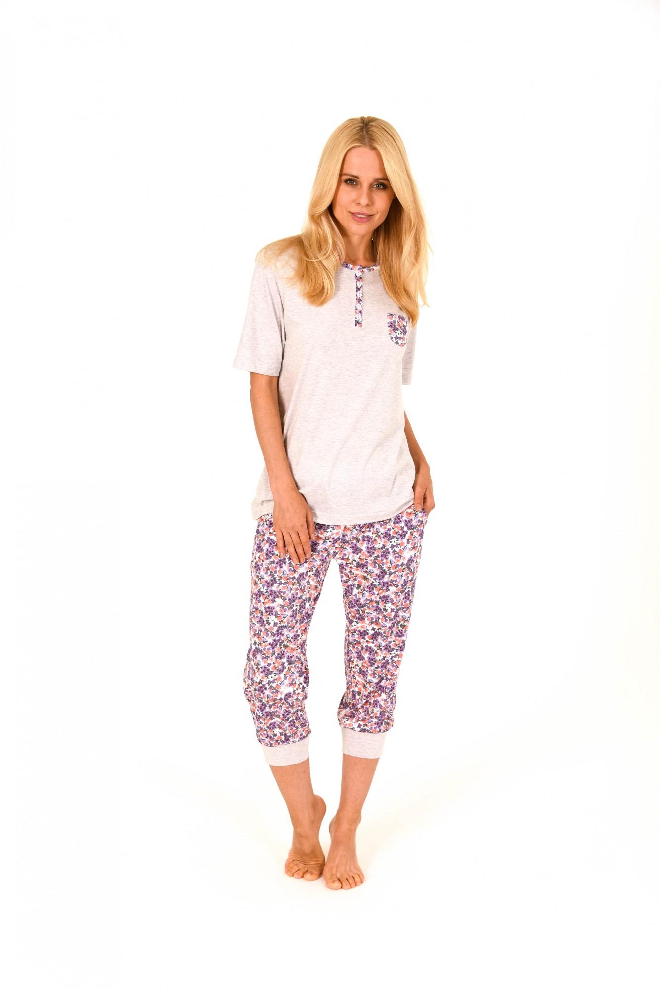 Toller Damen Pyjama kurzarm mit Caprihose  – Caprihose mit Bündchen – 171 204 90 602
