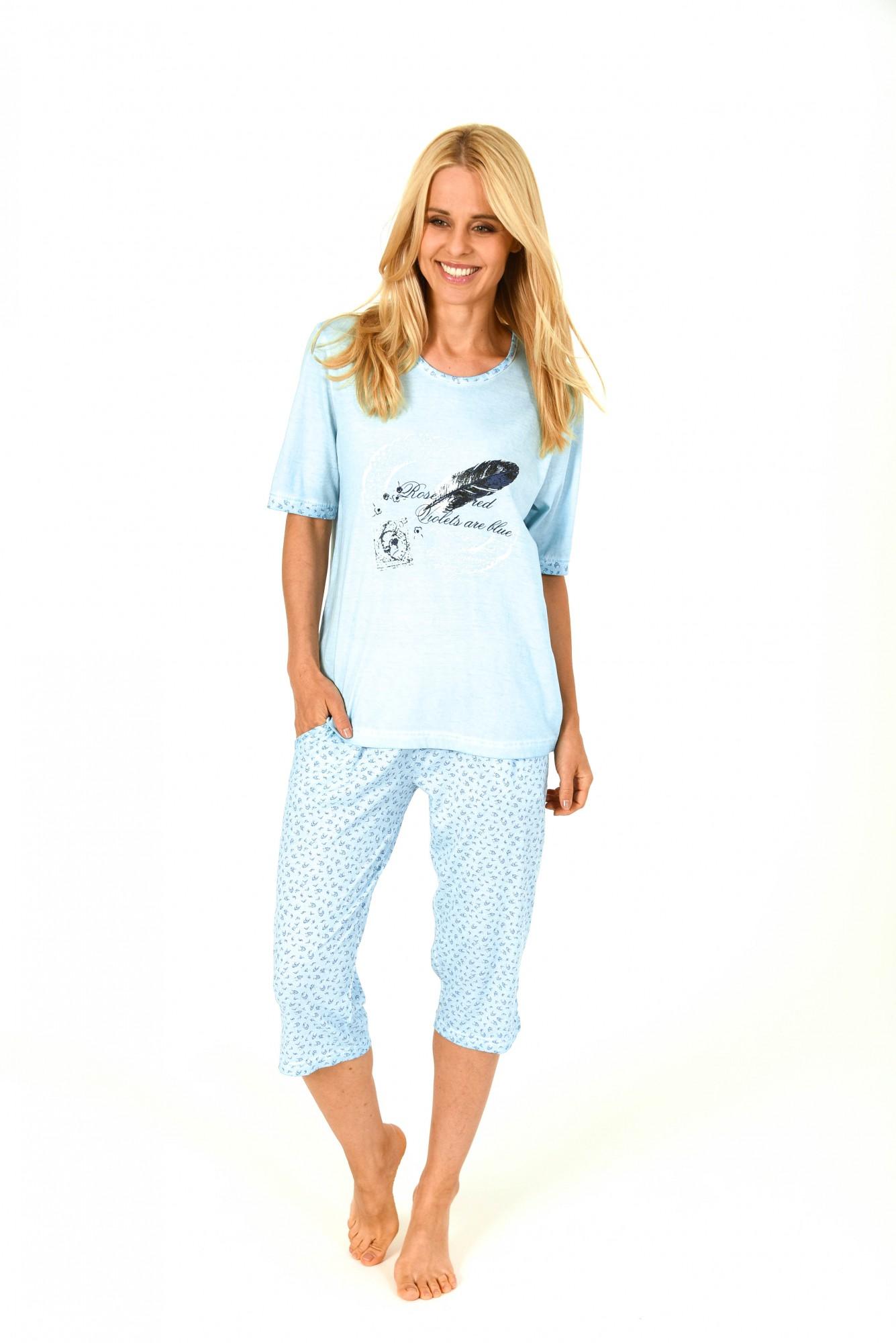Lässiger Damen Capri Pyjama kurzarm in gewaschener Optik – 171 204 90 820