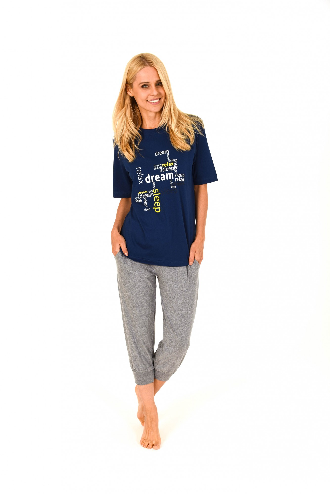 Damen Capri Pyjama 7/8-lange Hose und kurzarm Oberteil – 171 204 90 828 001