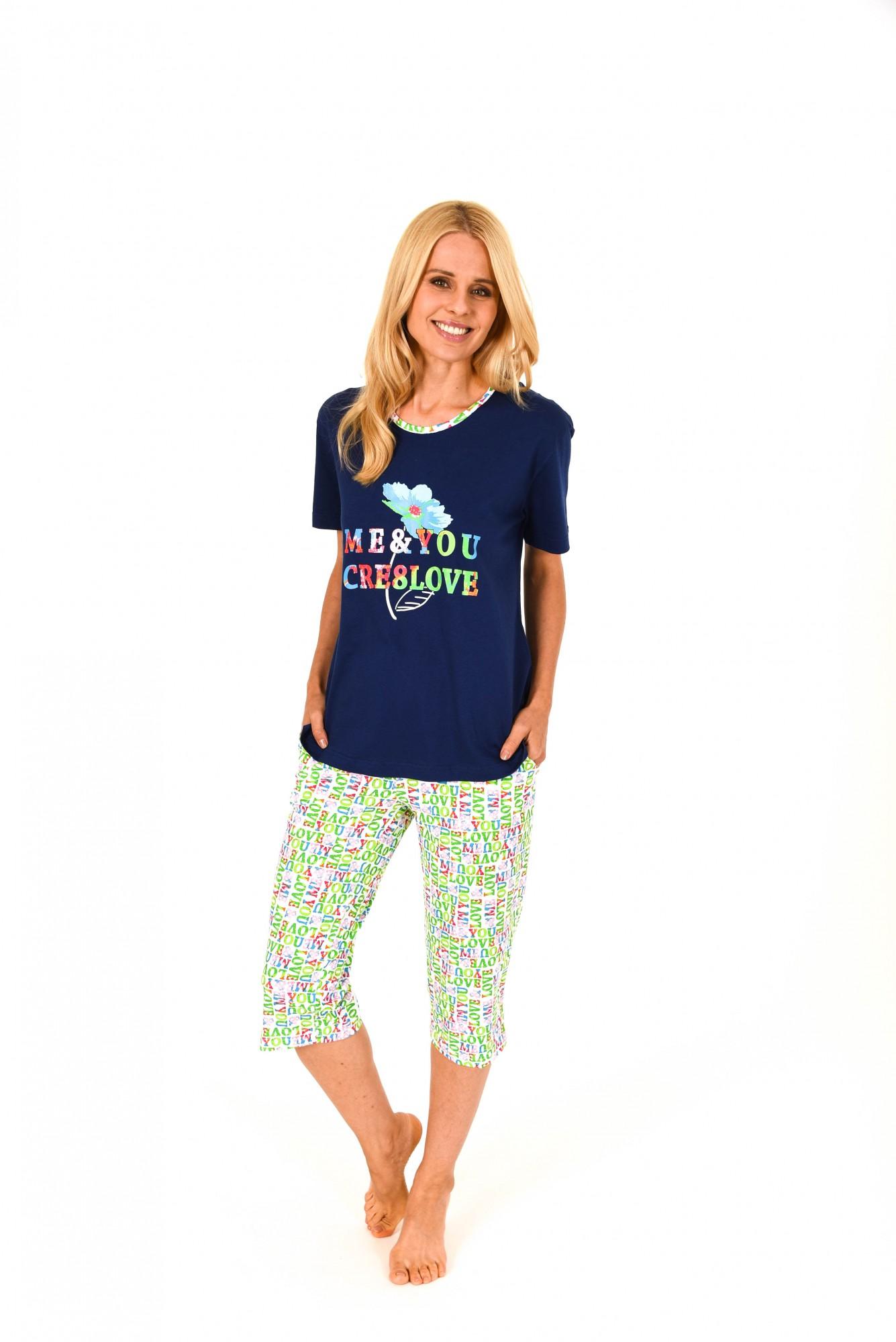 Wunderschöner Damen Pyjama kurzarm mit Caprihose – 171 204 90 842