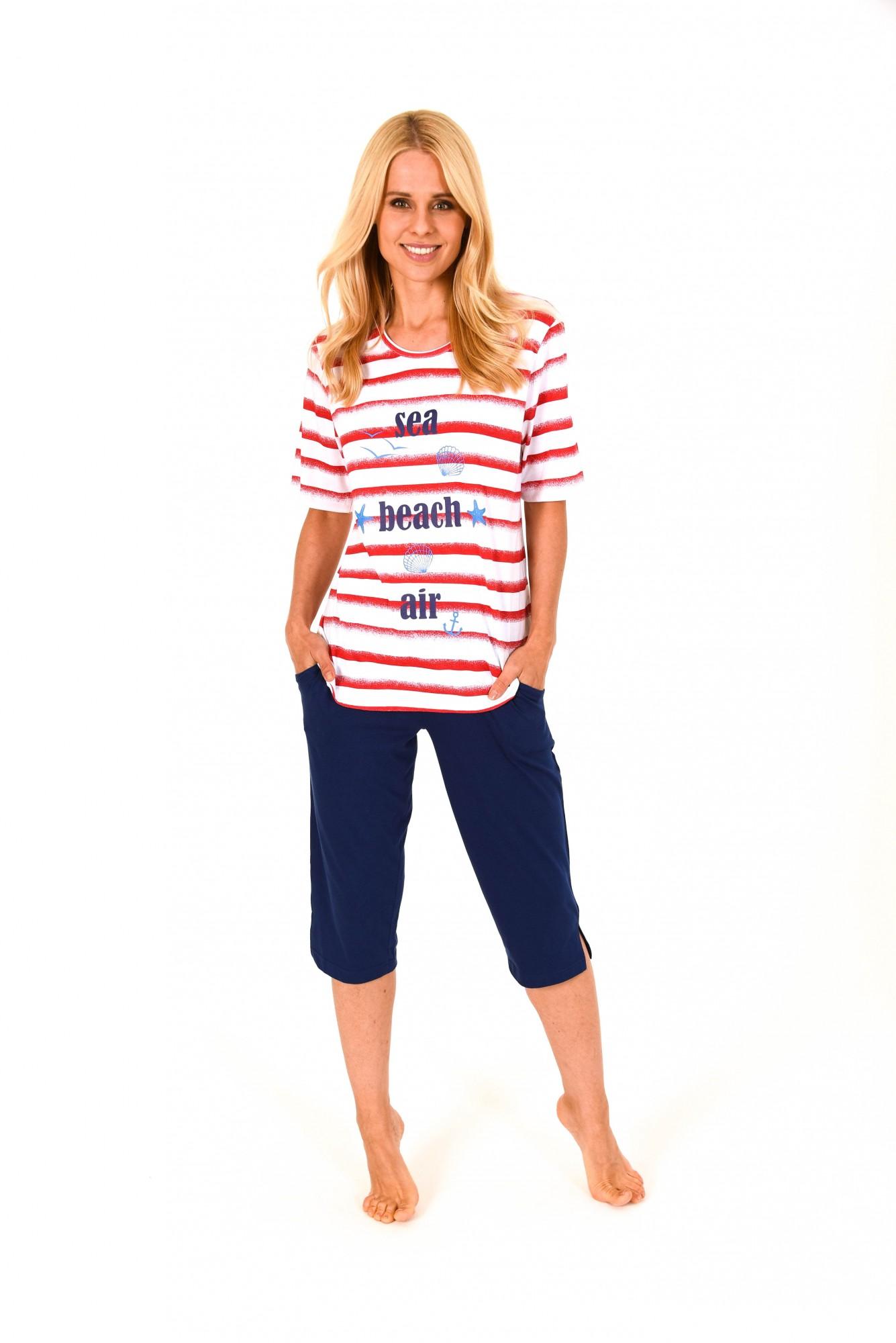 Toller Damen Pyjama mit Caprihose kurzarm in maritimer Streifenoptik – 171 204 90 868 001