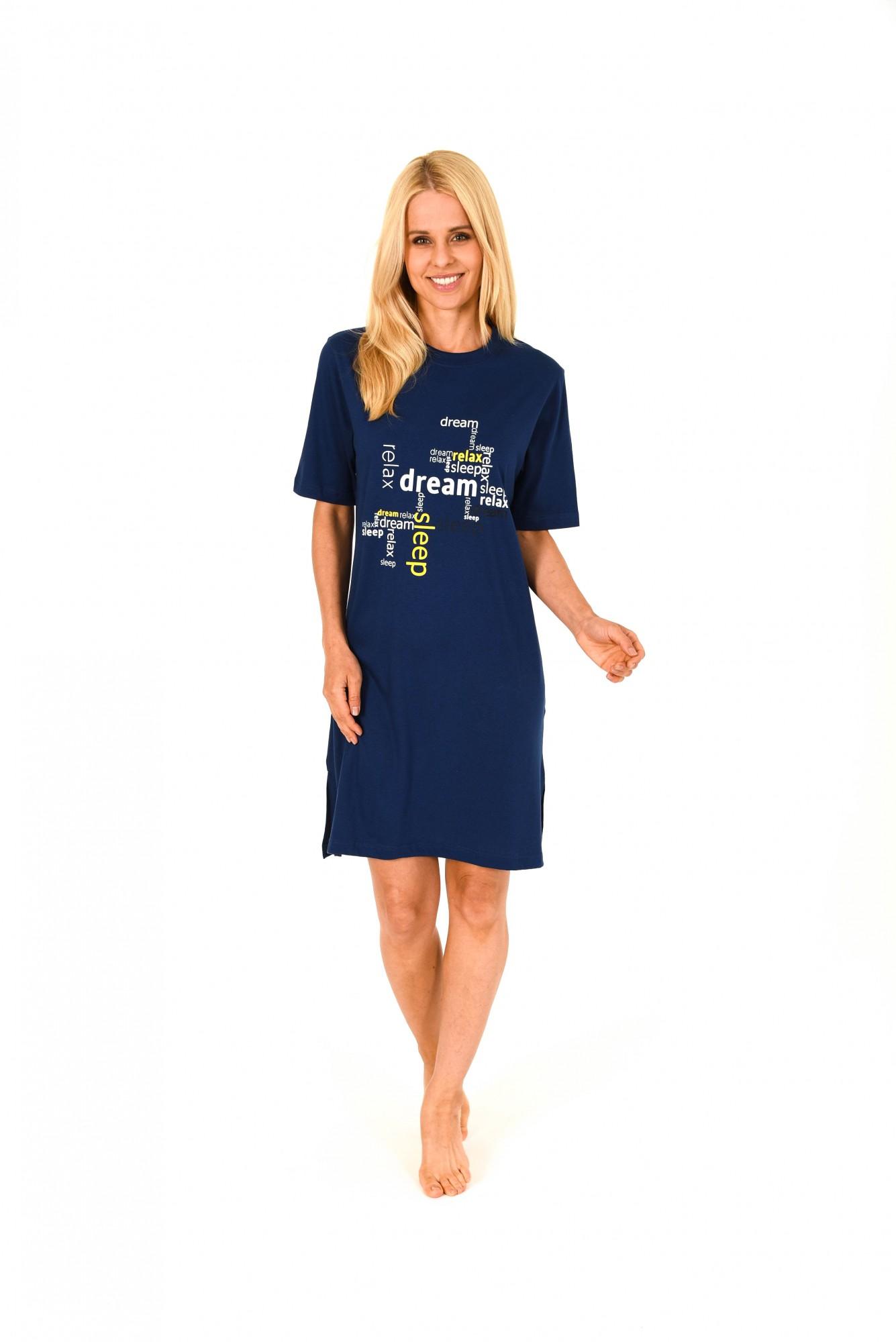 Damen Bigshirt kurzarm Nachthemd mit Frontprint – 171 213 90 828 001