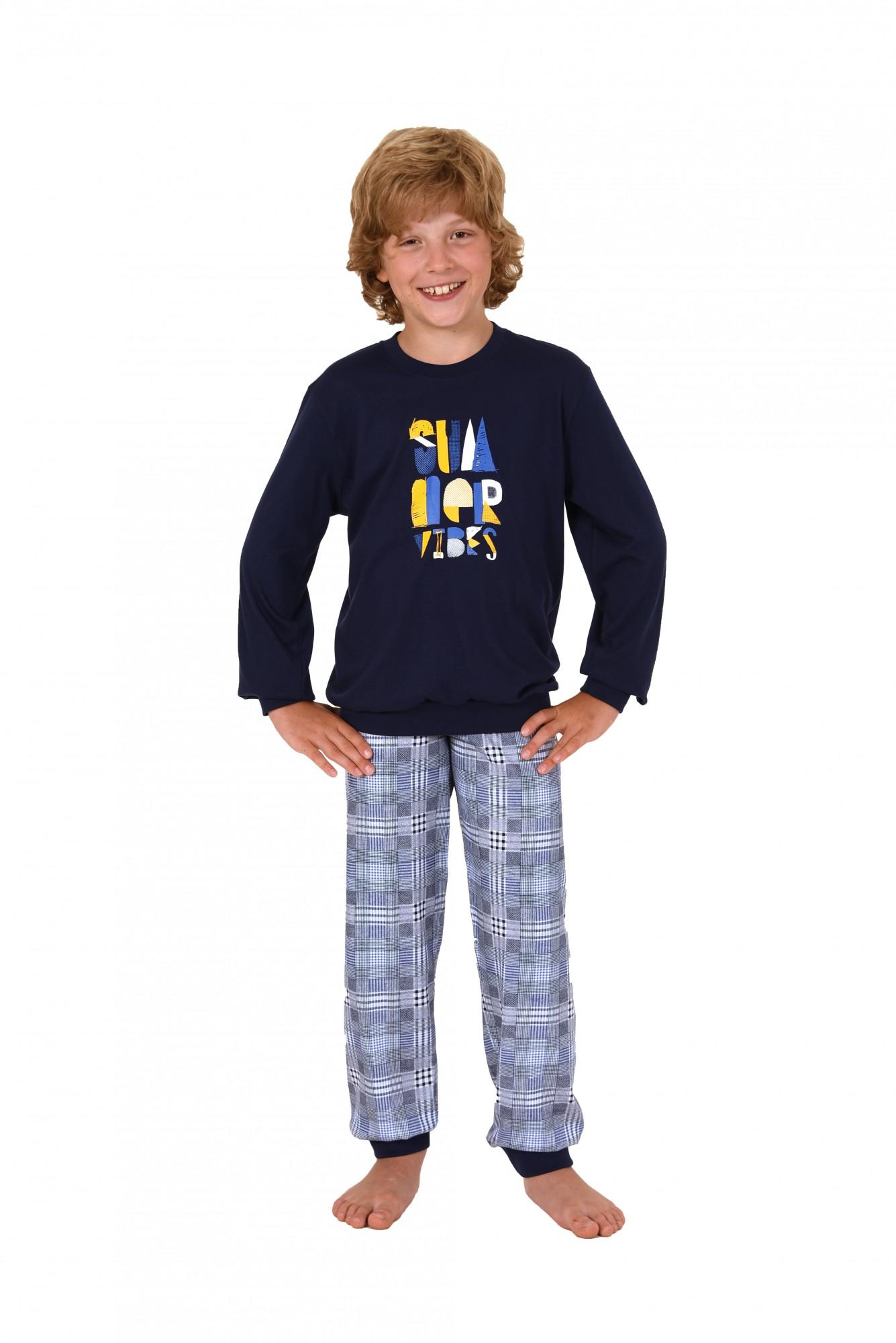 Cooler Jungen Pyjama mit Bündchen langarm und karierter Hose Mix & Match  90 601