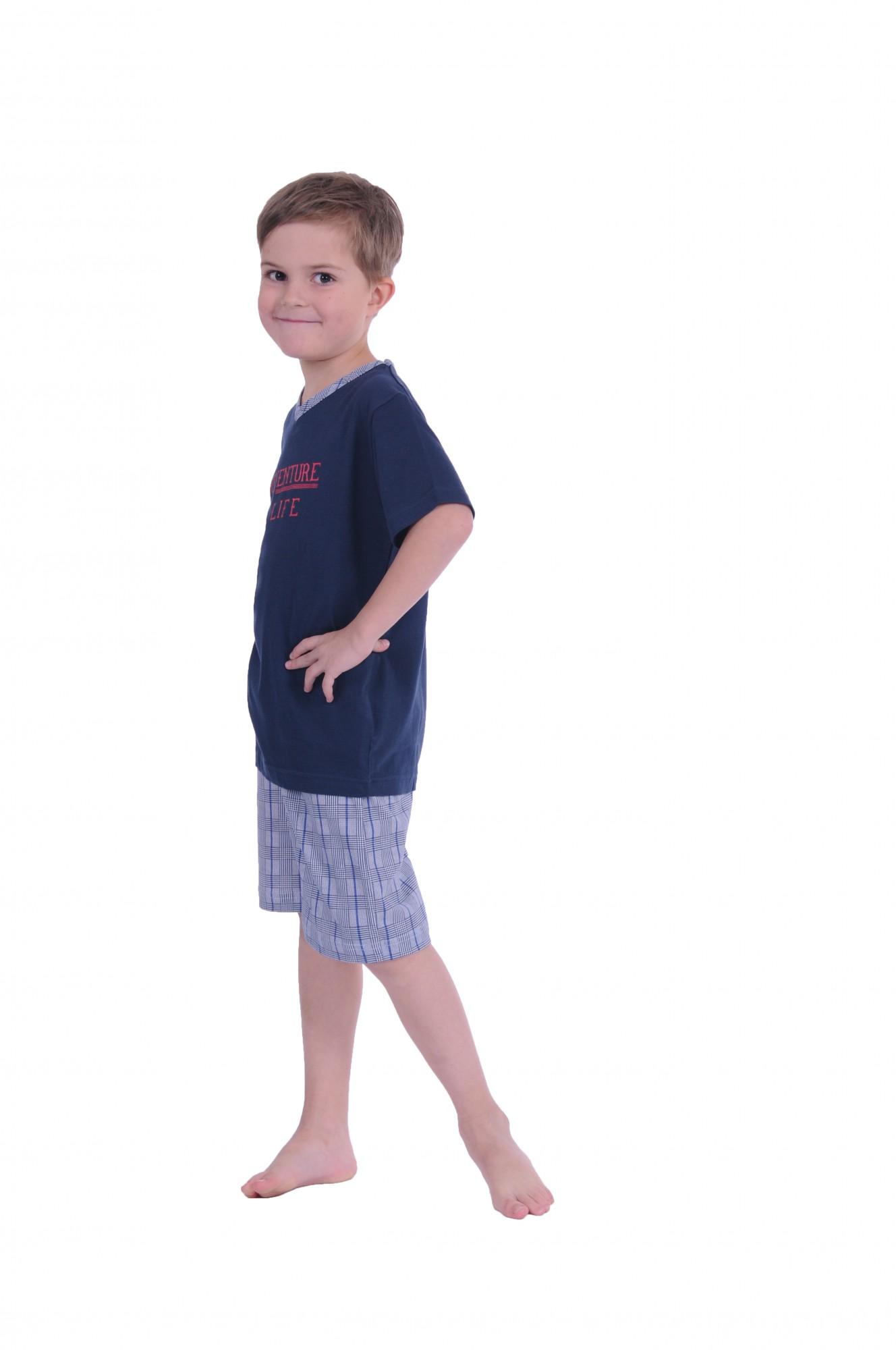 Jungen Kinder Shorty Pyjama kurzarm karierte Hose 171 505 90 500 – Bild 3