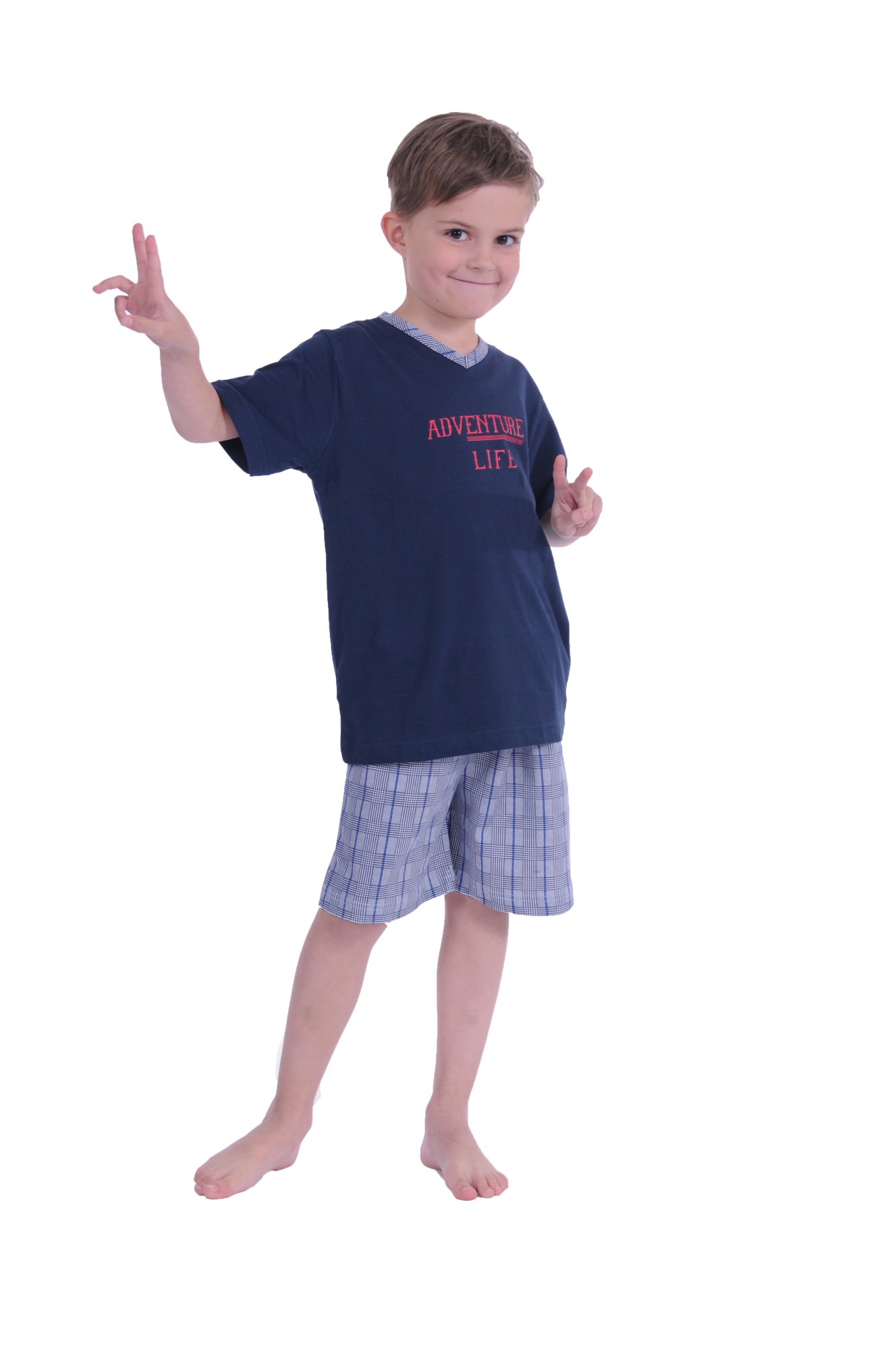 Jungen Kinder Shorty Pyjama kurzarm karierte Hose 171 505 90 500 – Bild 1