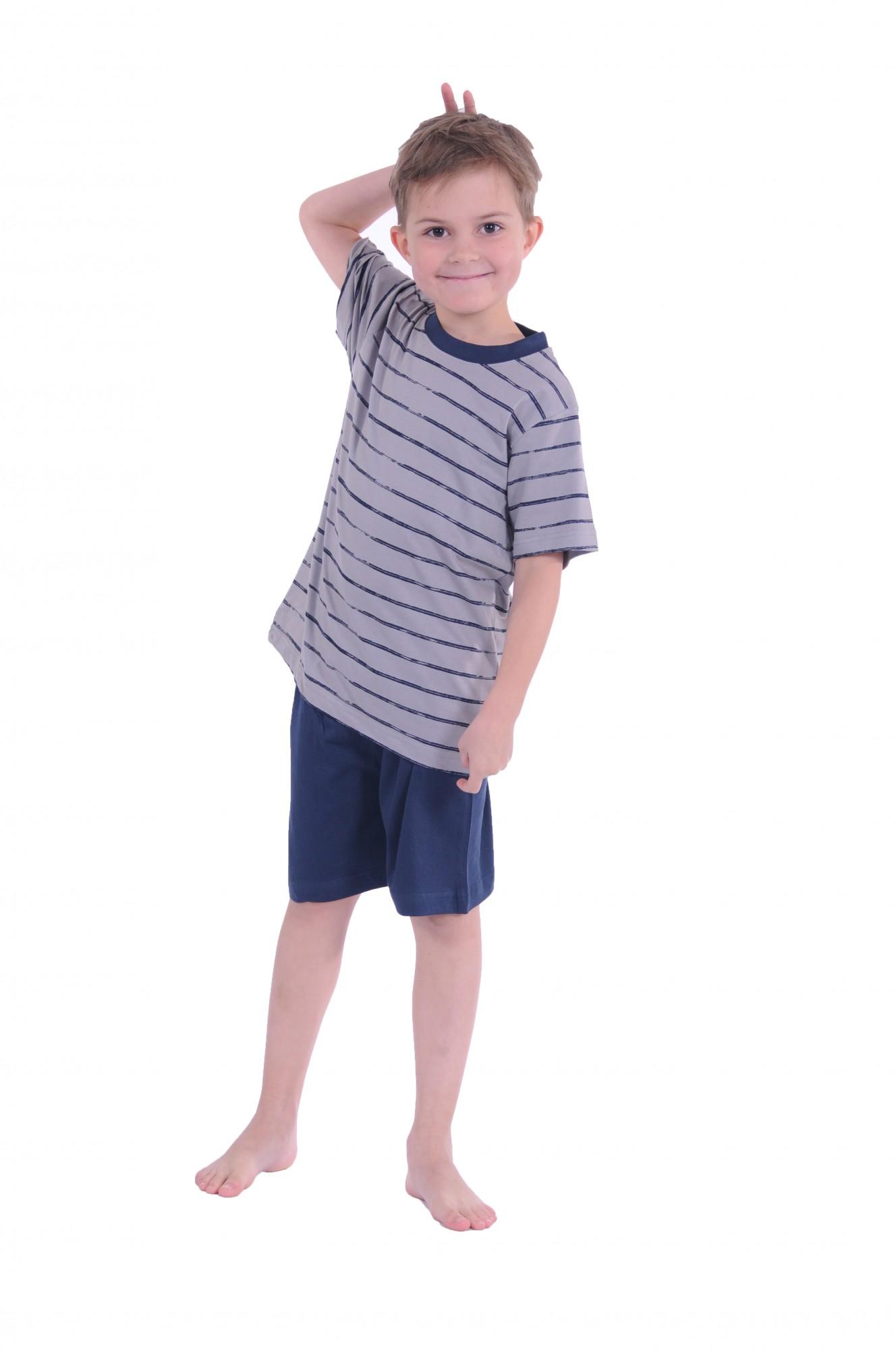 Jungen Kinder Shorty Pyjama kurzarm und mit Streifenoptik 171 505 90 741 – Bild 3