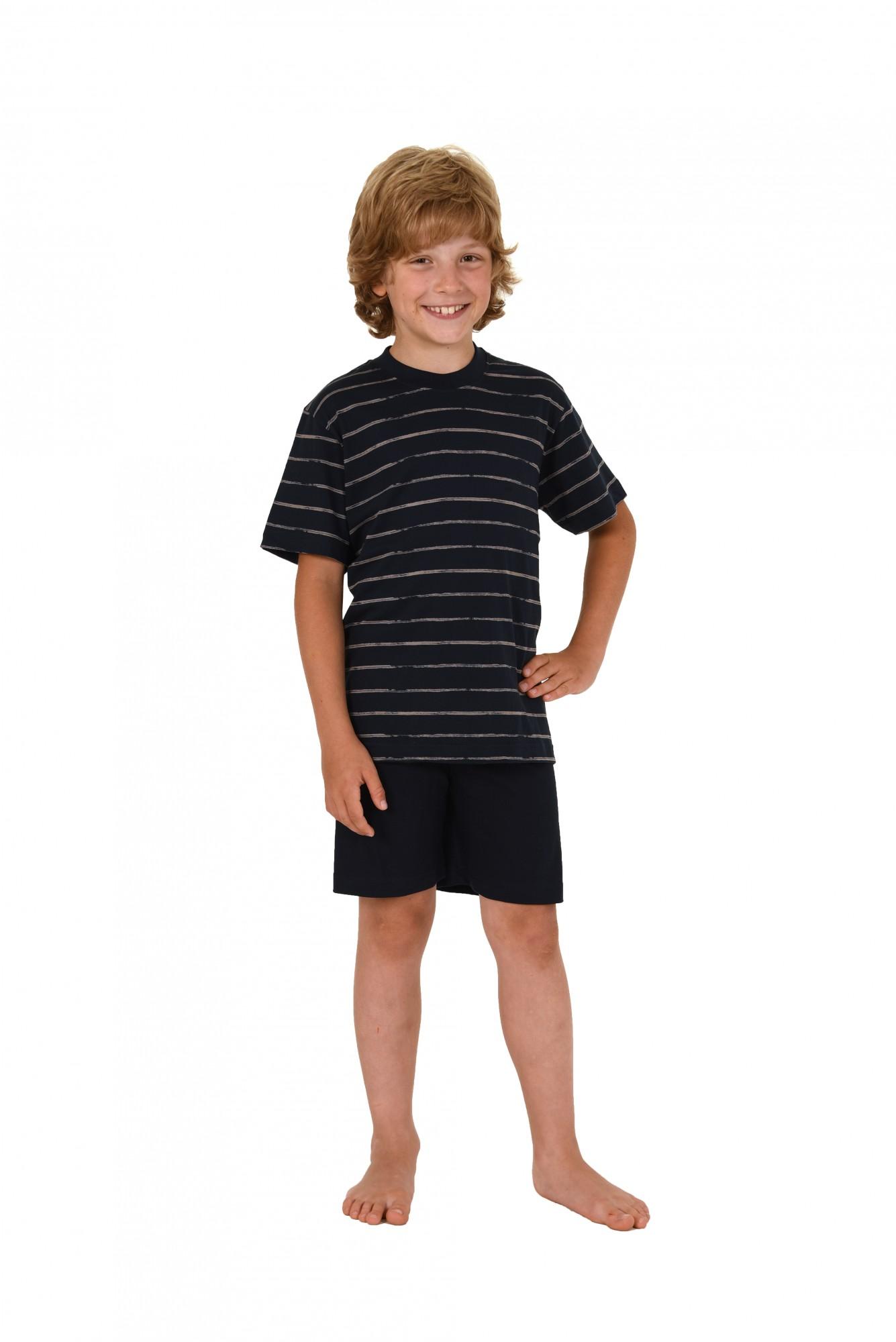 Jungen Kinder Shorty Pyjama kurzarm und mit Streifenoptik 171 505 90 741