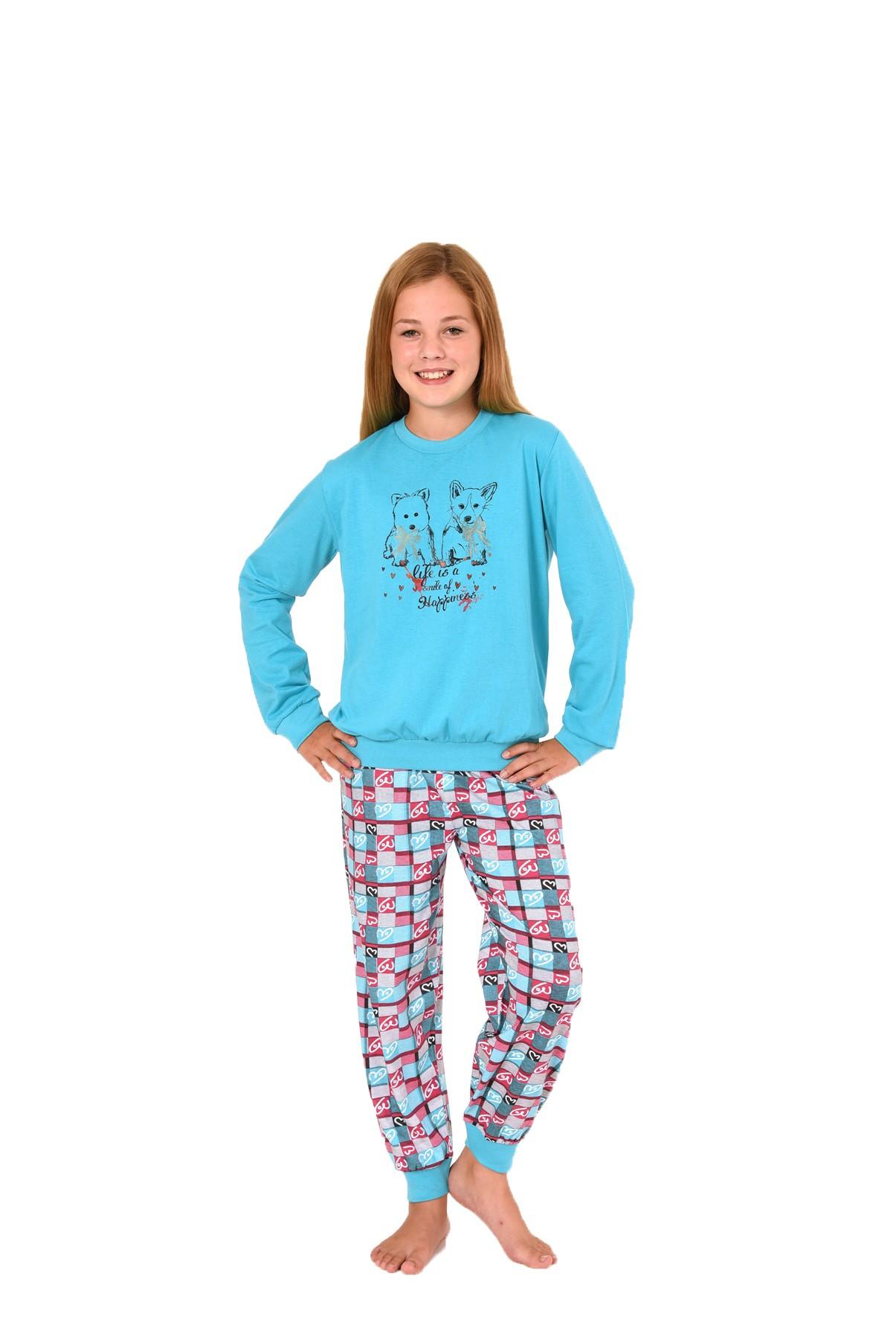 Cooler Mädchen Pyjama langarm mit Bündchen und süssen Hündchen als Motiv 58423 – Bild 2