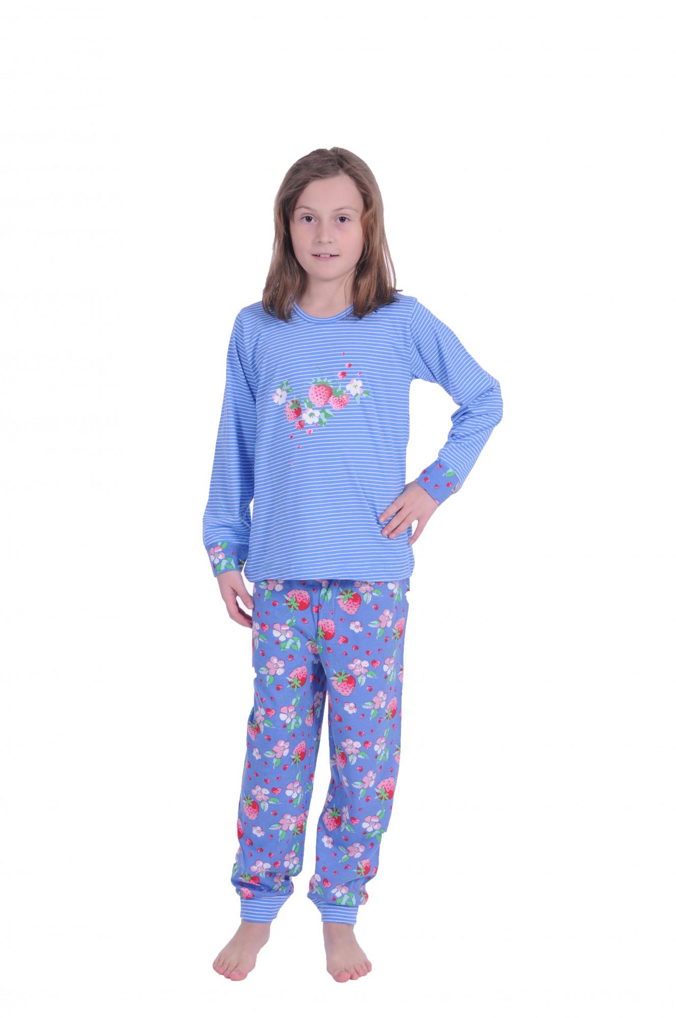 Cooler Mädchen Pyjama langarm mit Bündchen gestreift –58718