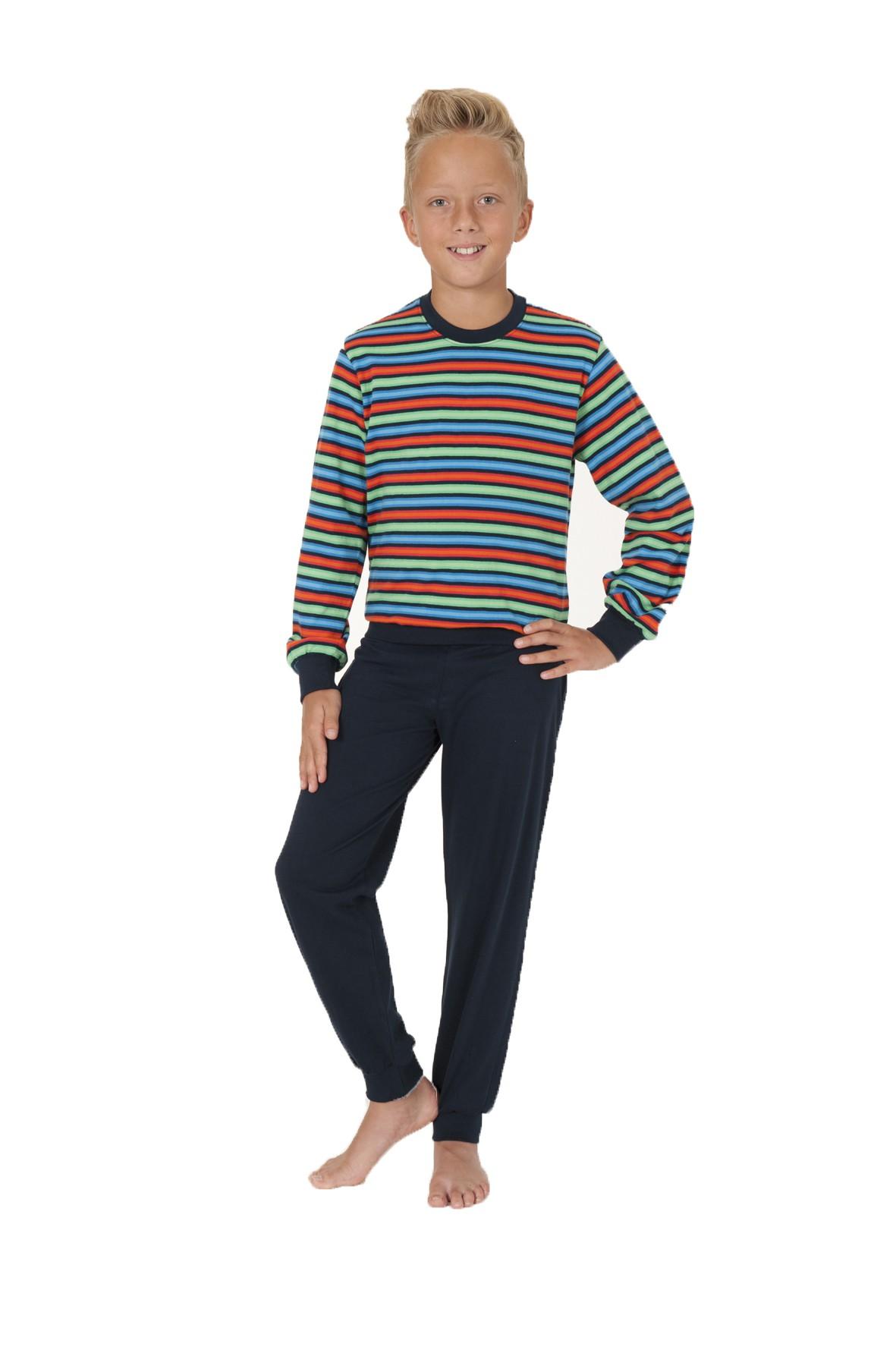 Jungen Pyjama Schlafanzug langarm mit Bündchen in Streifenoptik 58497 – Bild 2