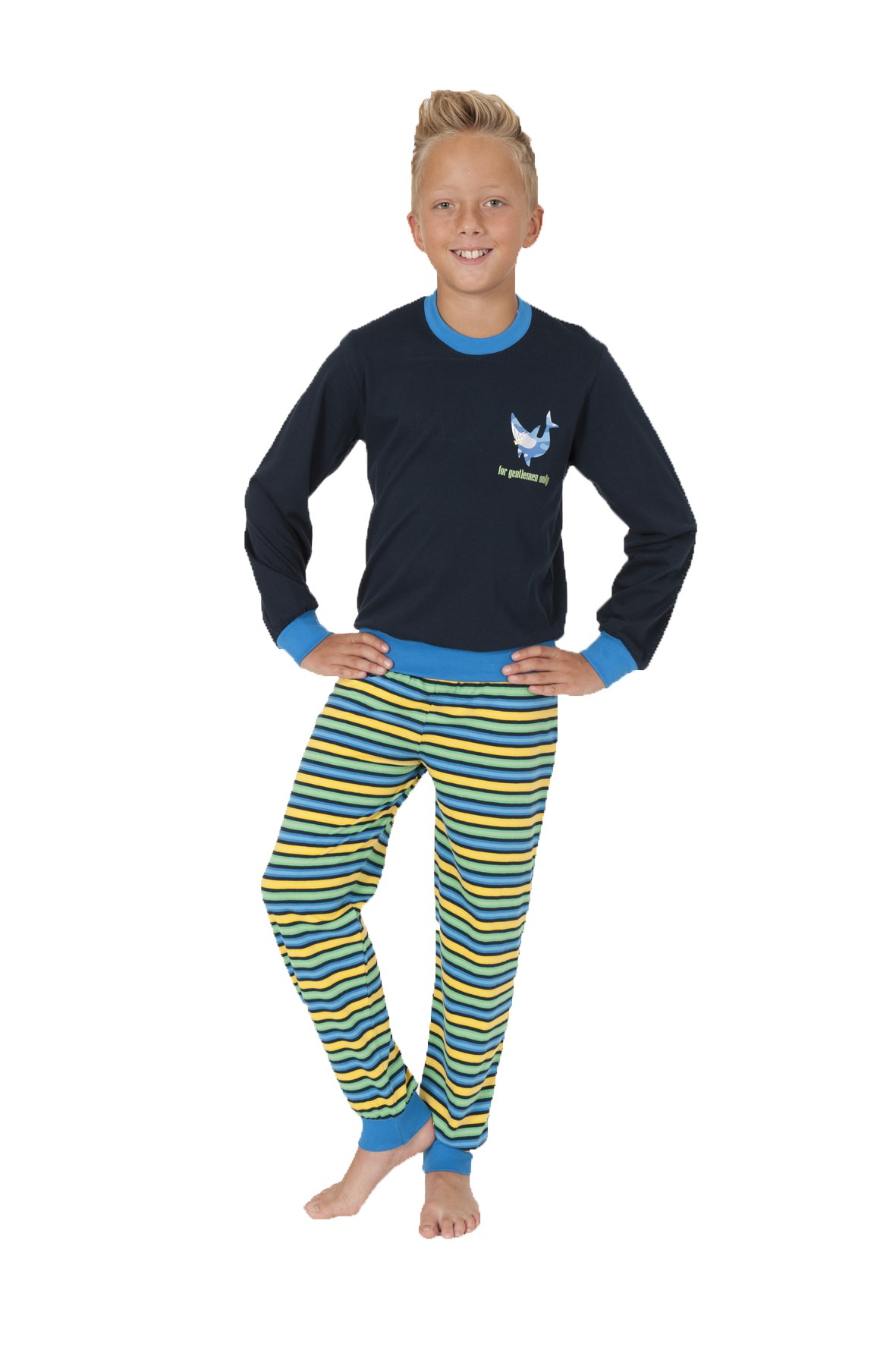 Jungen Pyjama Schlafanzug langarm mit Bündchen und gestreifter Hose 58500 – Bild 1