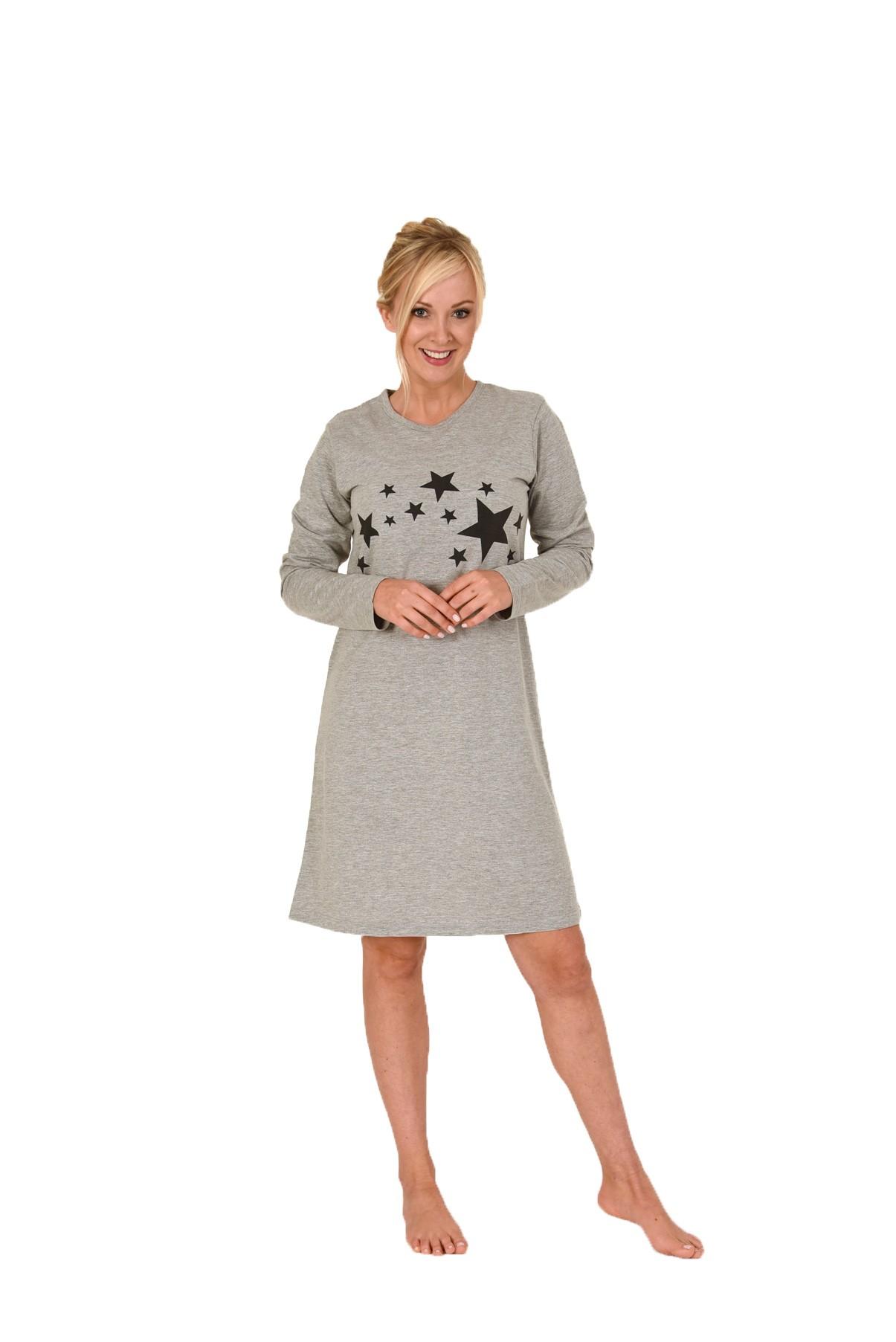 Damen Frottee Nachthemd langarm Bigshirt mit Sternehnmotiv – 58404
