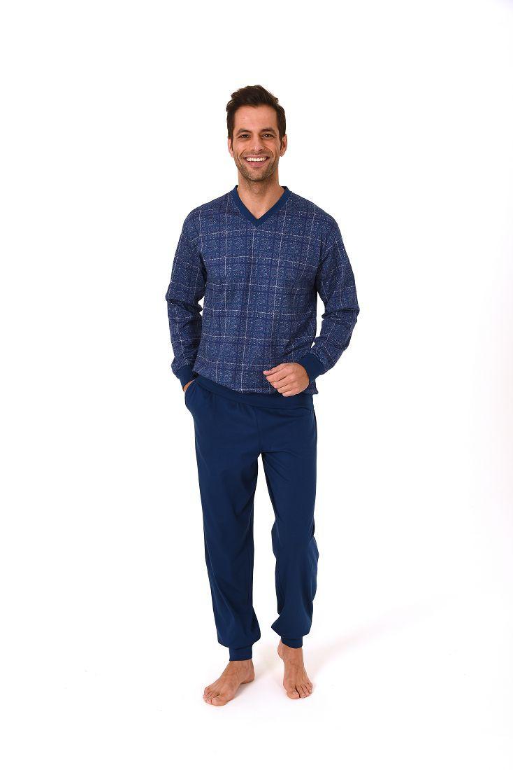 Eleganter Herren Pyjama langarm mit Bündchen im Karodesign – 271 101 90 440 – Bild 2