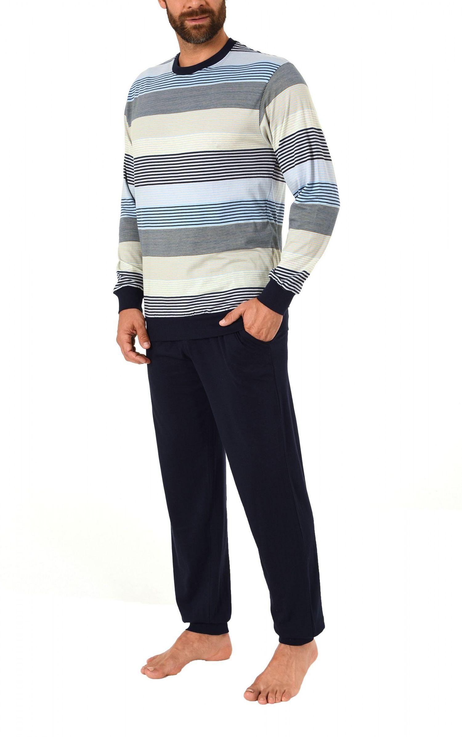 Eleganter Herren Pyjama Schlafanzug lang mit Bündchen – geringelt -  271 101 90 755 – Bild 3
