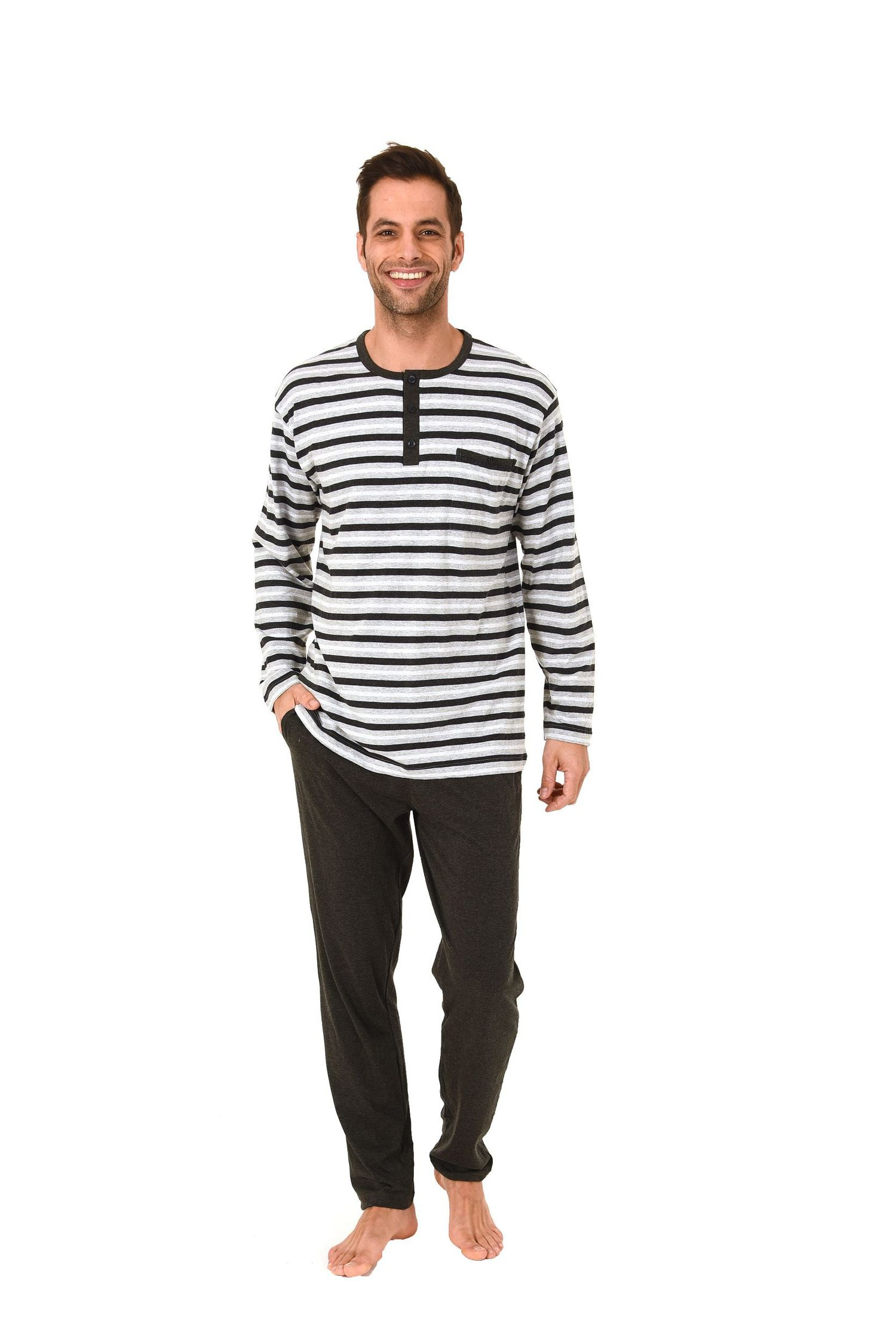 size 40 8e81f 6f7cb Lässiger Herren Pyjama lang in Streifenoptik und Knopfleiste am Hals – 271  101 90 773