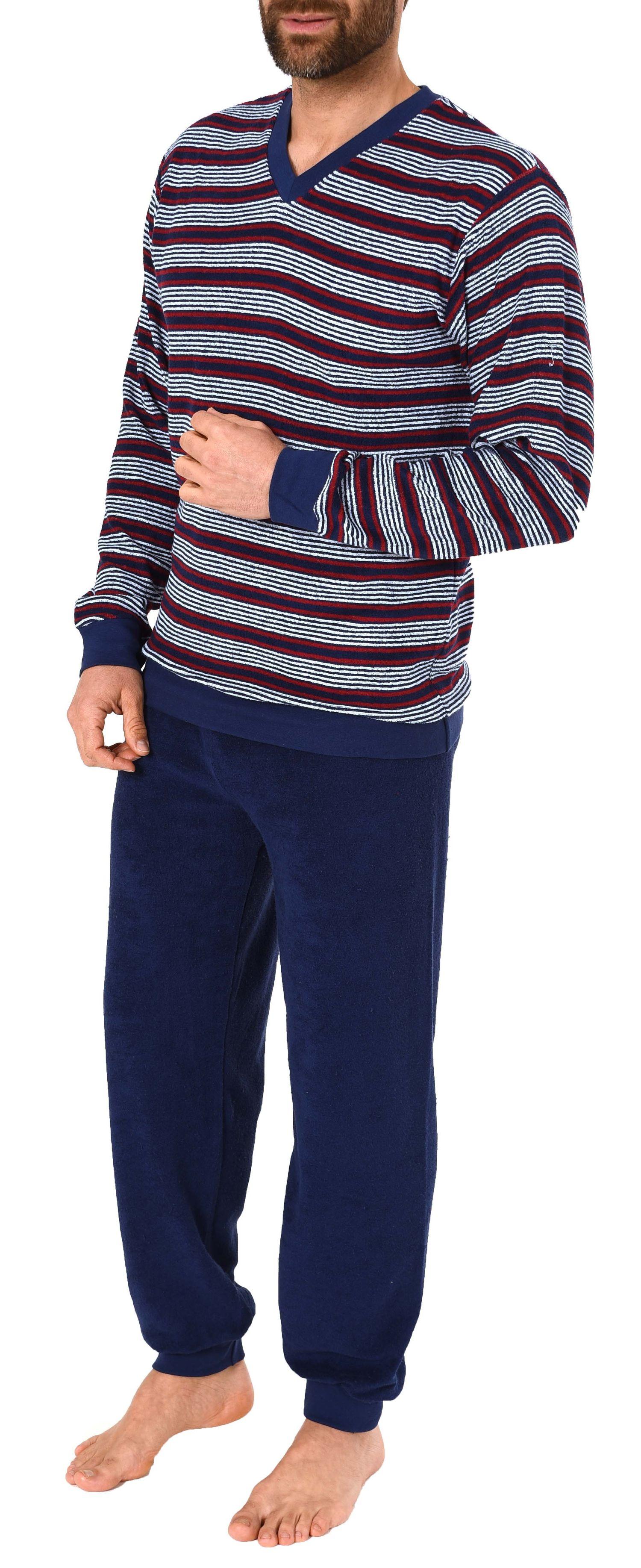 Edler Herren Frottee Pyjama lang mit Bündchen in Streifenoptik – 271 101 93 003 – Bild 3