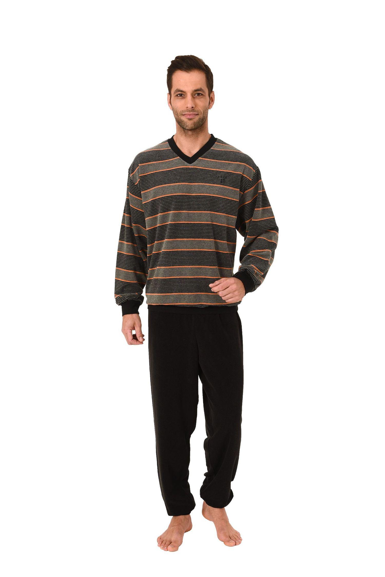 Edler Herren Frottee Pyjama lang mit Bündchen in Streifenoptik – 271 101 93 003 – Bild 1