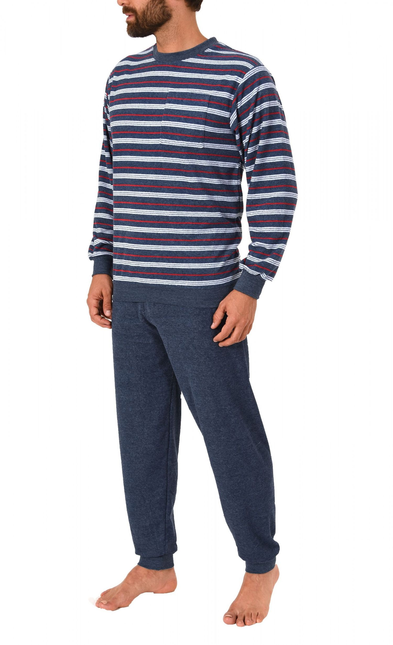 Eleganter Herren Frottee Pyjama Schlafanzug lang mit Bündchen – 271 101 93 730 – Bild 3