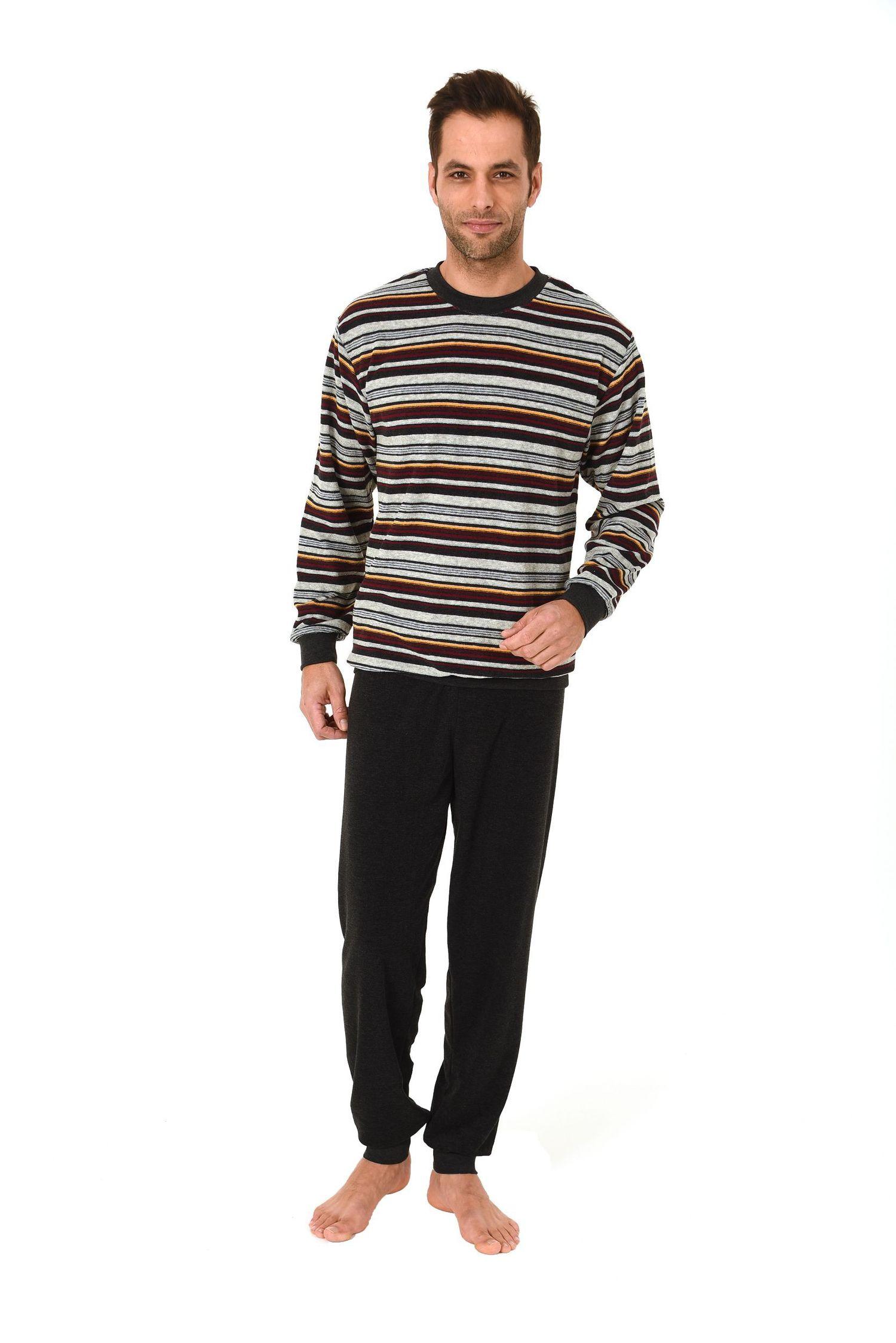 Eleganter Herren Frottee Pyjama Schlafanzug lang mit Bündchen – auch in Übergrössen bis Gr. 70