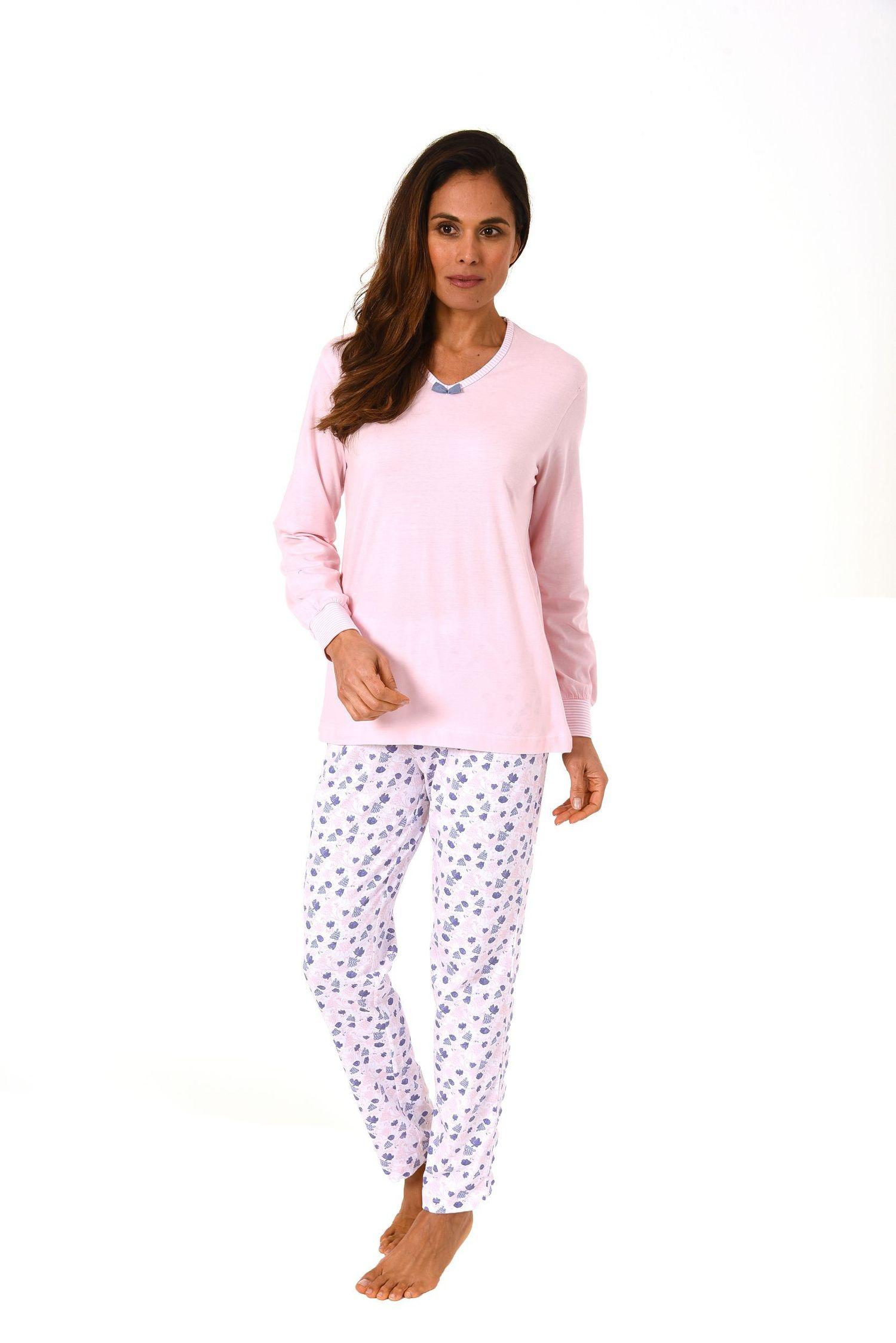Wunderschöner Damen Pyjama langarm  – auch in Übergrössen bis 60/62 –  271 201 90 100 001