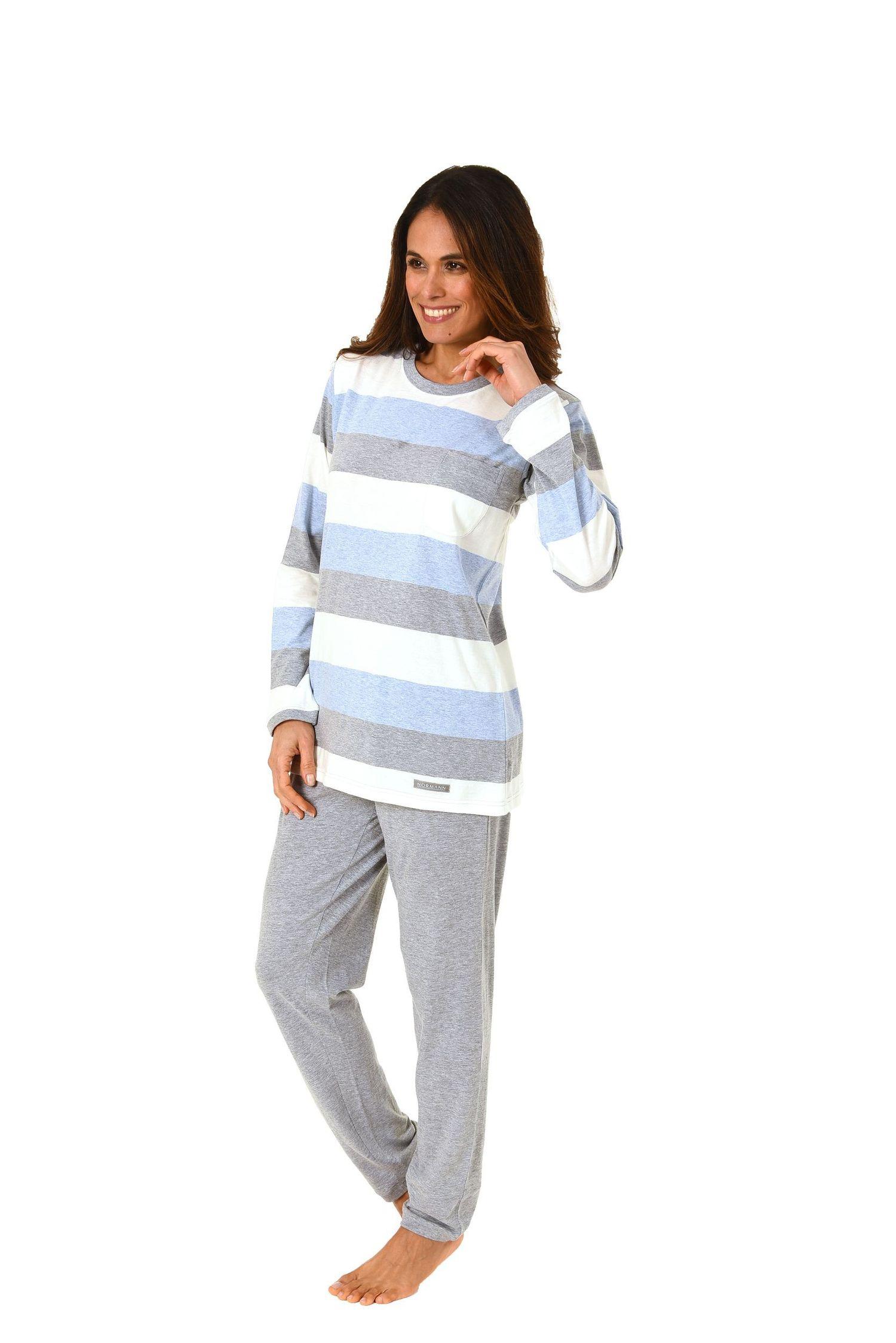 Toller Damen Pyjama  langarm in wunderschöner Block Streifen Optik – 271 201 90 101