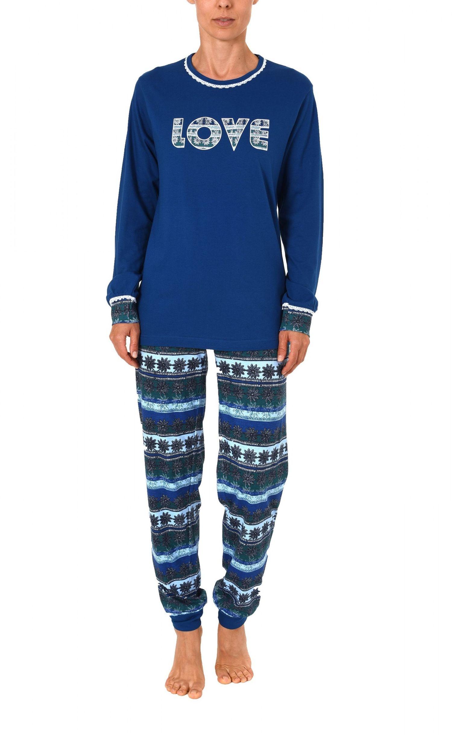 Cooler Damen Pyjama lang mit Bündchen – auch in Übergrössen bis 60/62 – 271 201 90 106 – Bild 2