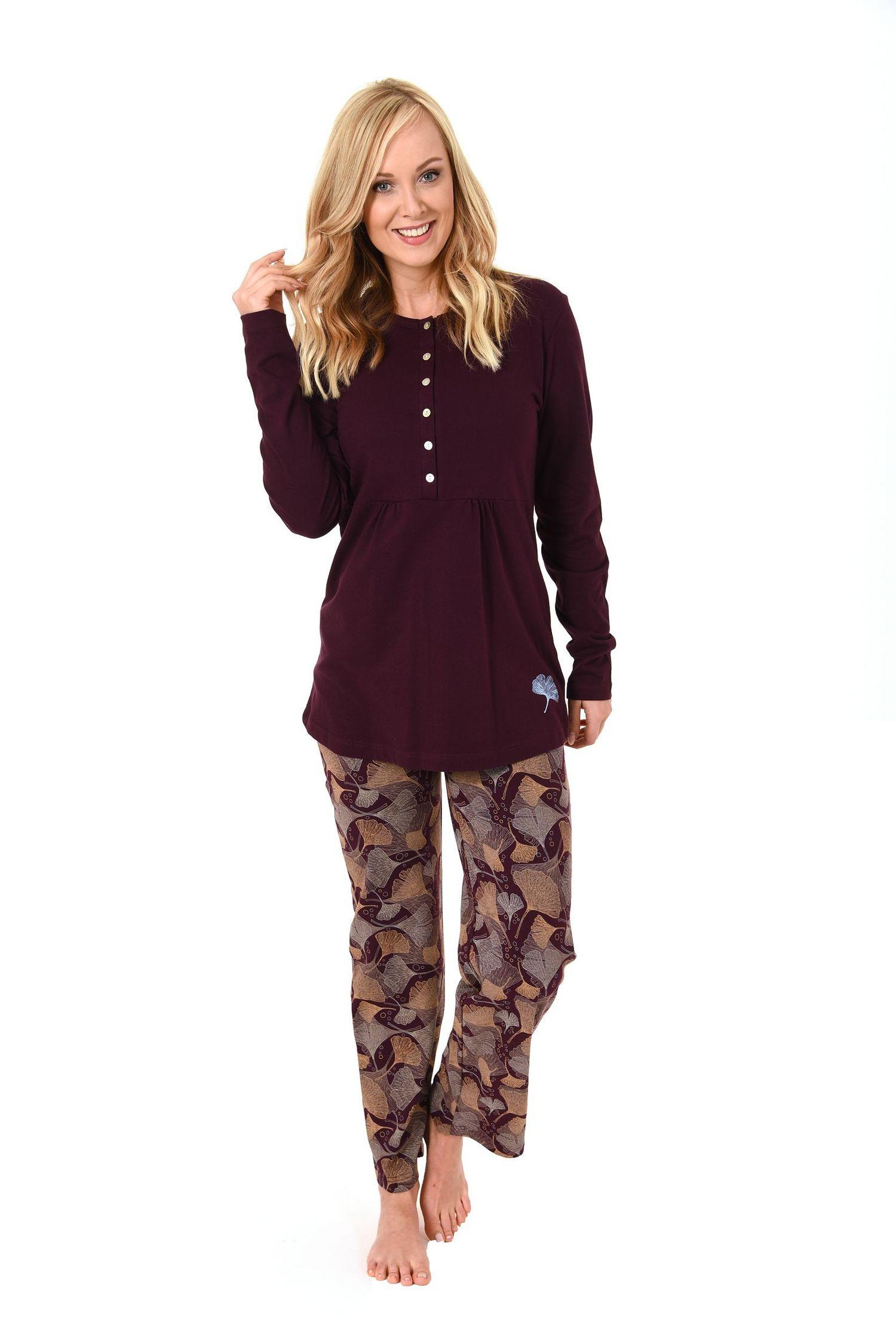 Damen Pyjama lang mit langer Knopfleiste auch als Still Pyjama geeignet