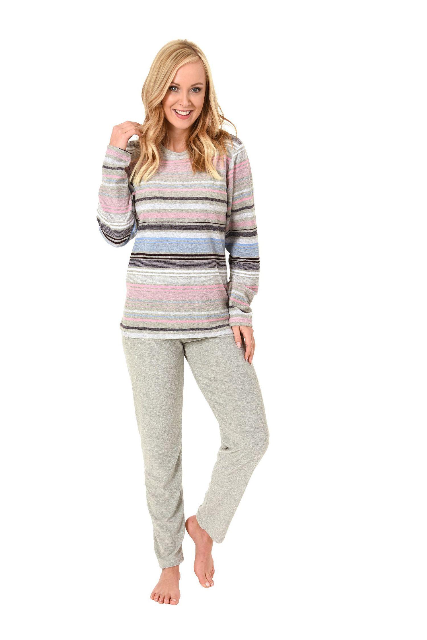 Damen Frottee Pyjama lang in tollen Streifendesign – auch in Übergrössen –271 201 93 235 – Bild 1