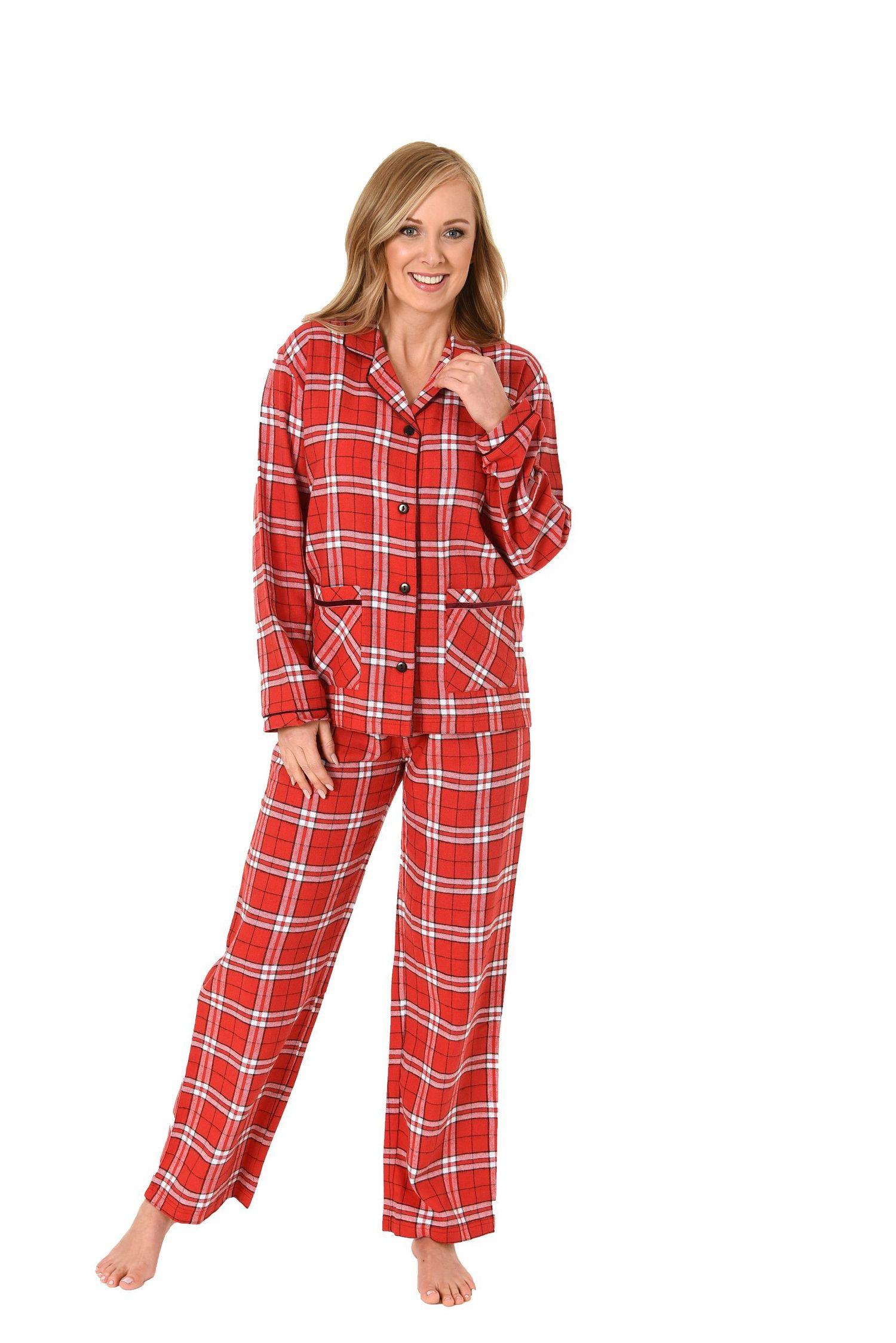 Damen Flanell Pyjama langarm Karodesign – 271 201 95 001