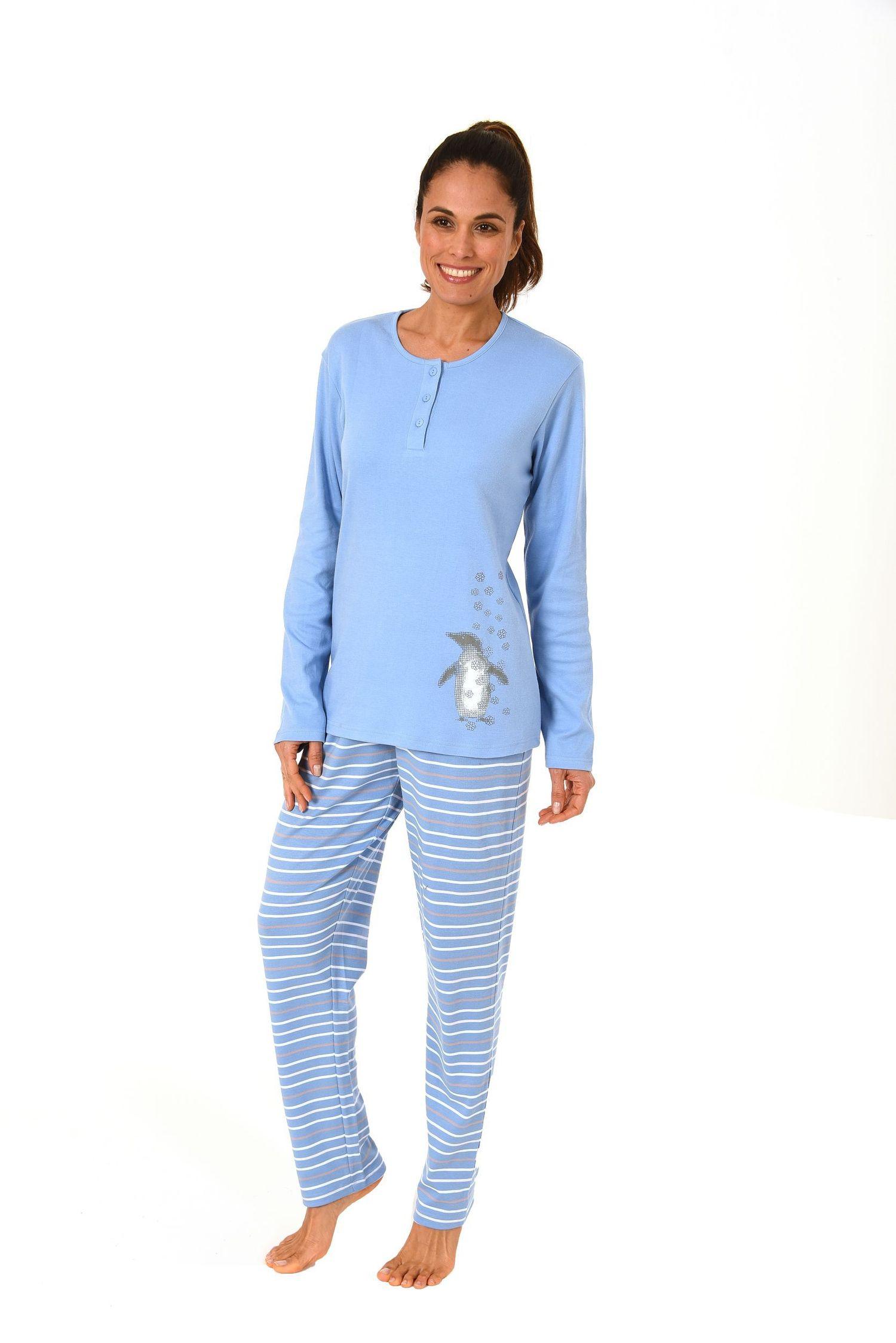 huge discount ea900 c18eb Damen Pyjama in Kuschel-Interlock-Qualität mit süssen Pinguin Motiv – auch  in Übergrössen