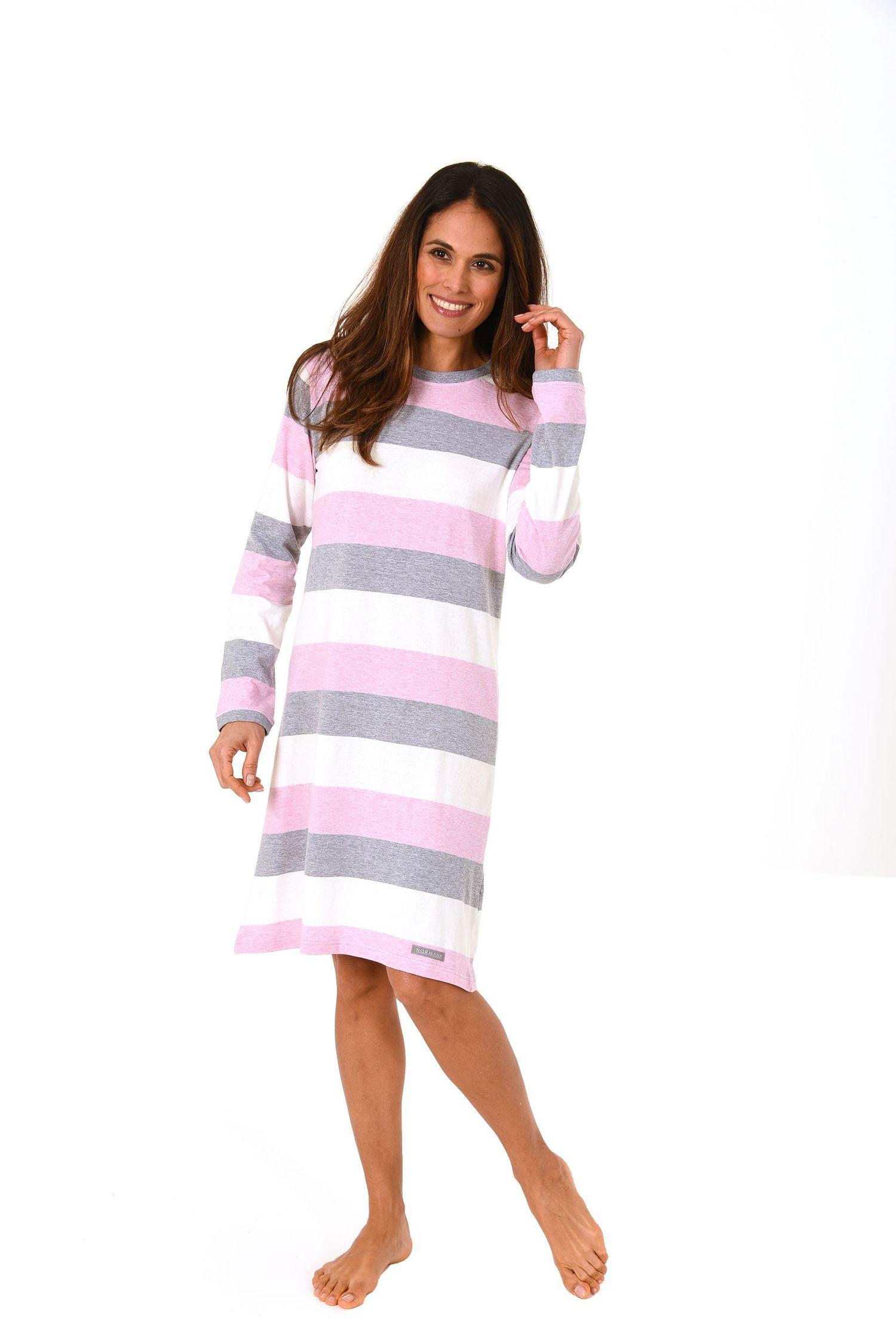 Tolles Damen Nachthemd langarm in wunderschöner Block Streifen Optik – 271 213 90 101