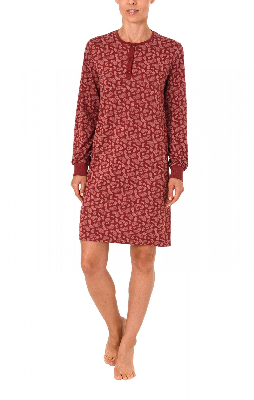 Damen Kurz Nachthemd langarm mit Bündchen und Knopfleiste am Hals  271 213 90 102 – Bild 2