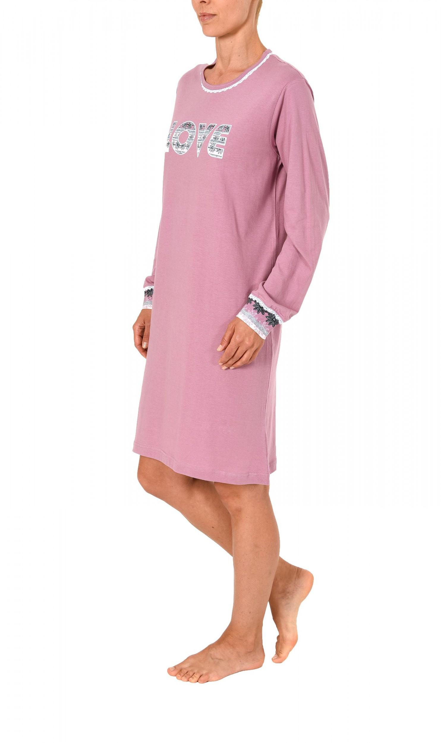 info for b5497 da252 Lässiges Damen Kurznachthemd langarm von Normann – auch in Übergrössen –  271 213 90 106