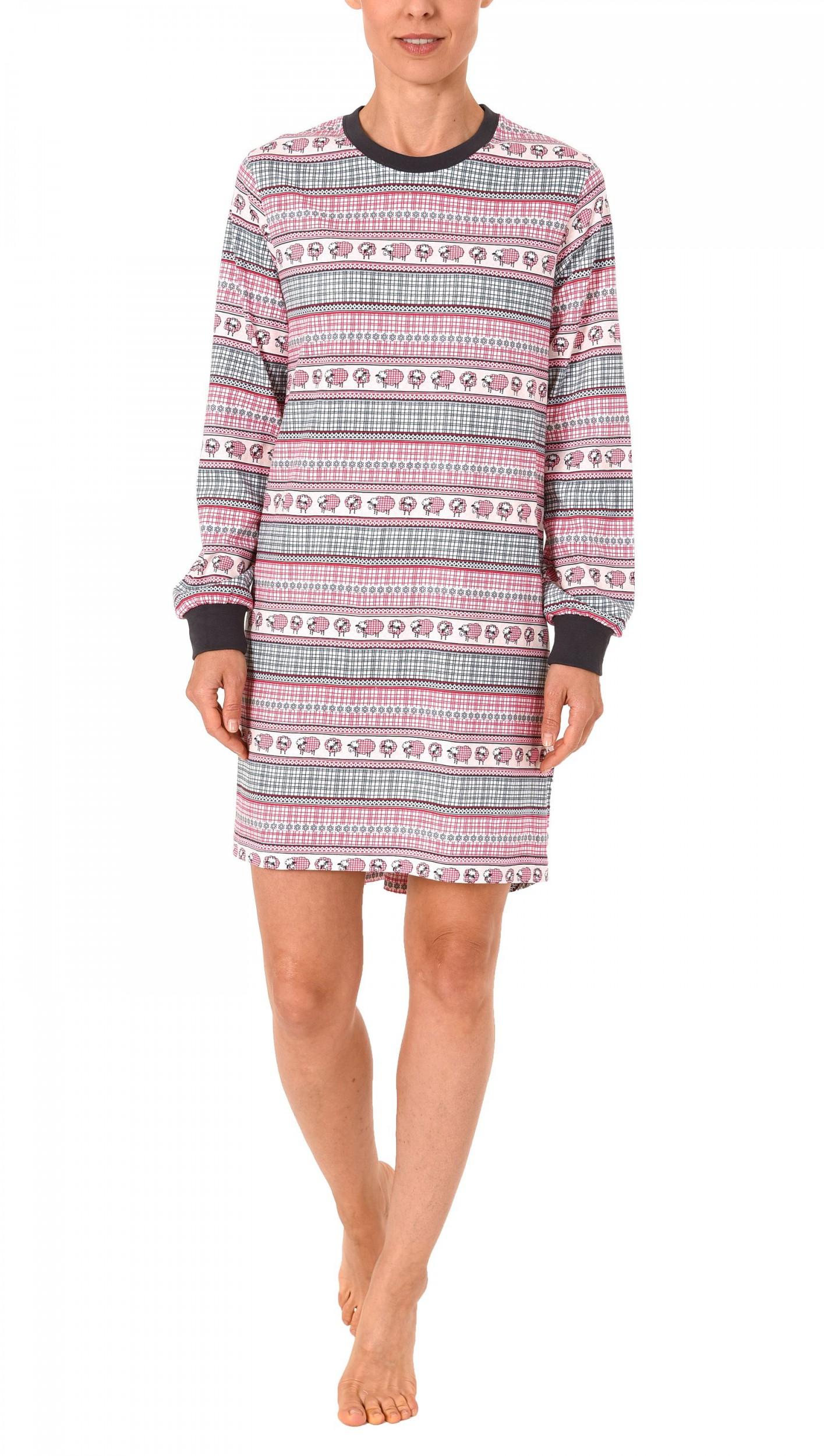 Cooles Damen Kurznachthemd mit Bündchen im Norweger Look – 271 213 90 418 – Bild 1