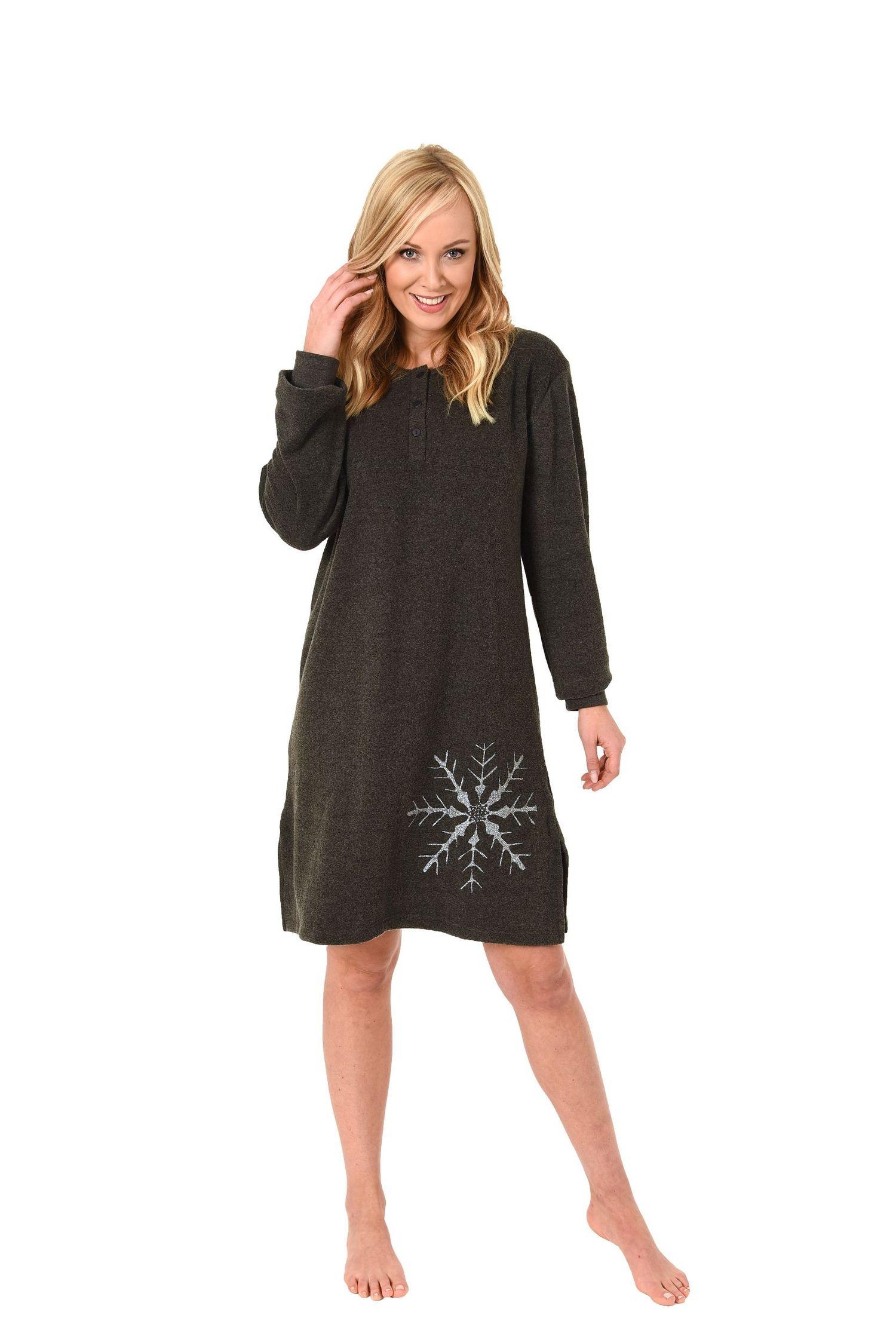 Damen Frottee Nachthemd langarm mit Bündchen – auch in Übergrössen – 271 213 93 001