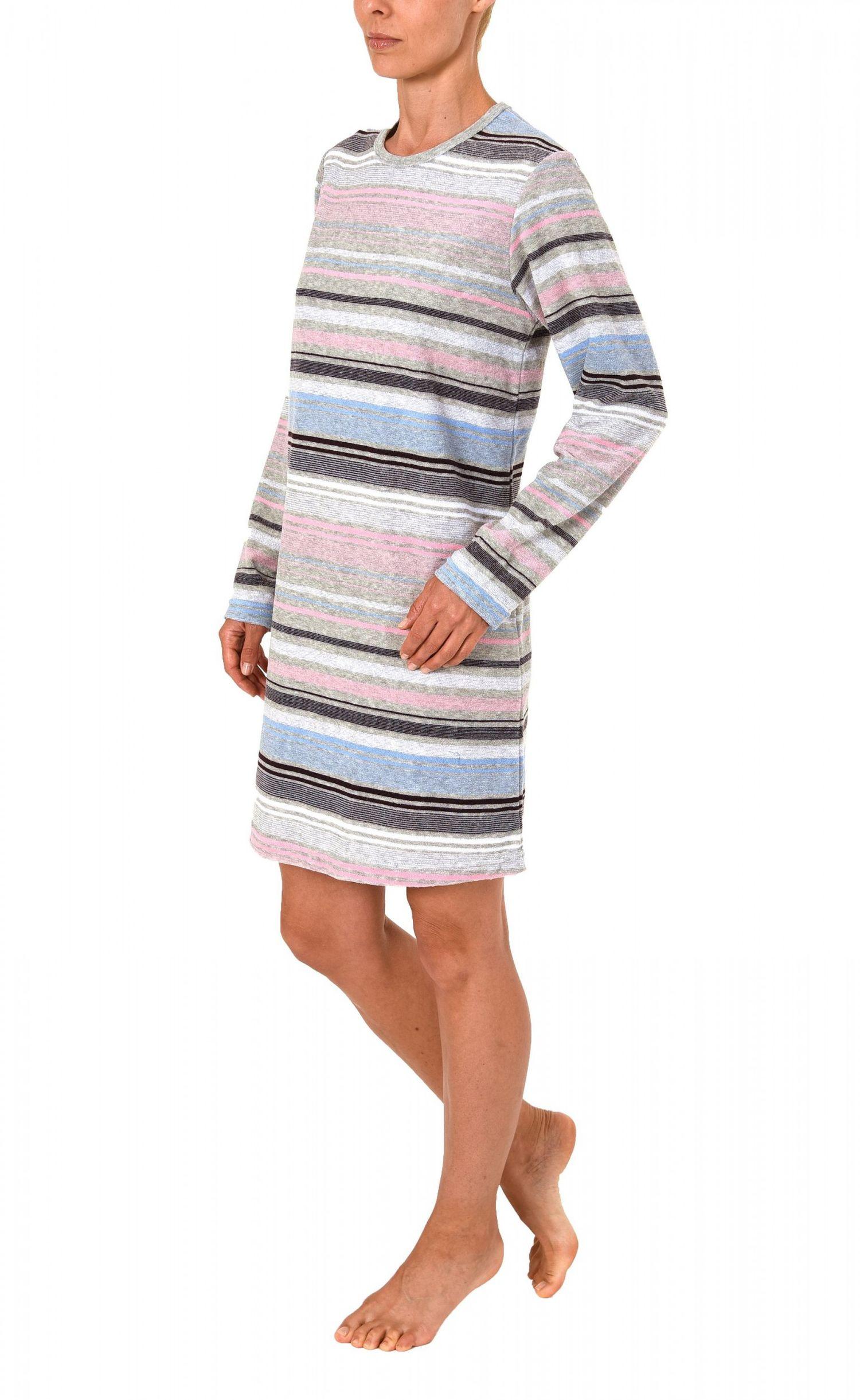 Damen Frottee Nachthemd langarm in Streifenoptik – auch in Übergrössen – 271 213 93 145 – Bild 3
