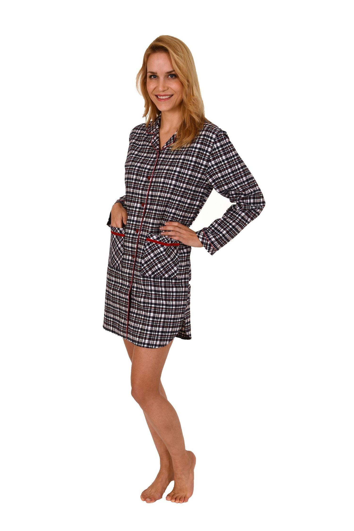 Damen Flanell Nachthemd langarm im Karo Design mit aufgesetzten Taschen – 271 213 95 002