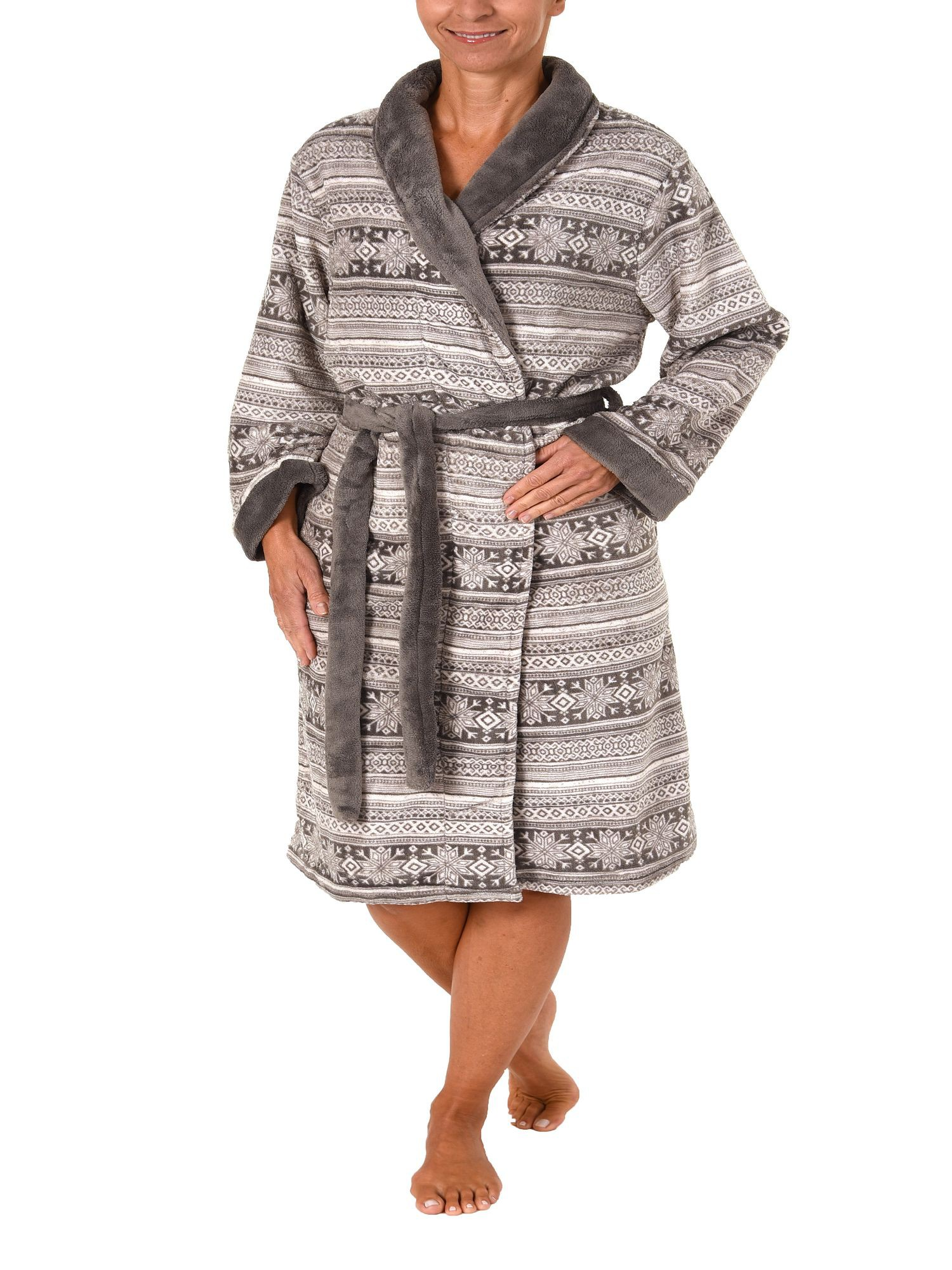 Damen Morgenmantel Corallfleece Bademantel in Norweger-Muster-Optik – 271 218 97 003 – Bild 2