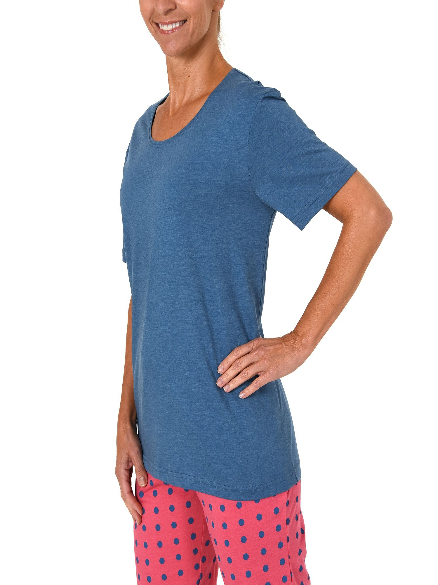 Damen Shirt - Oberteil kurzarm unifarben Mix & Match in rot oder jeansblau – 220 90 514 – Bild 2
