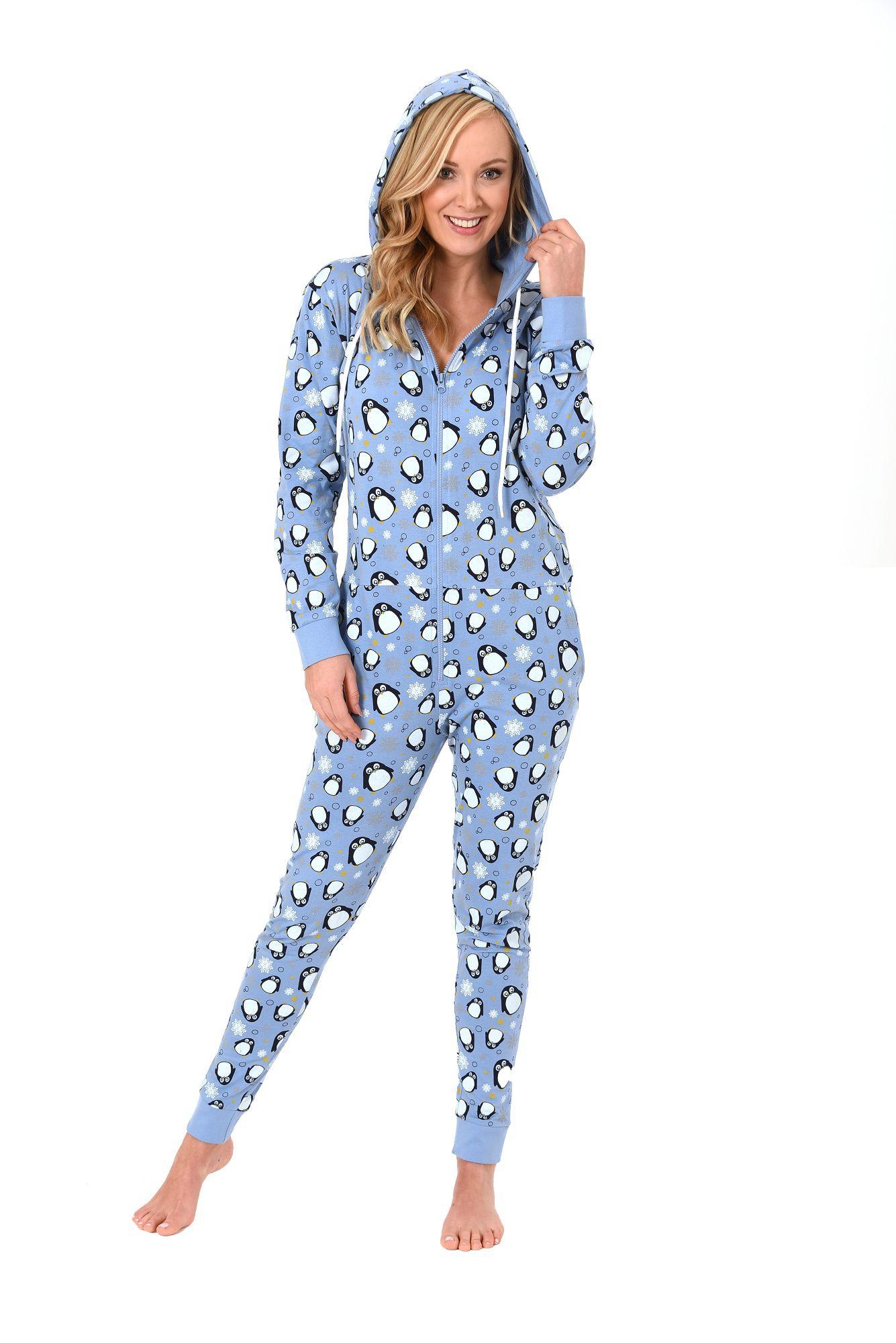 purchase cheap 9c8aa 4040a Damen Schlafanzug Einteiler Jumpsuit Overall langarm – auch in Übergrössen  – mit tollen Motiv