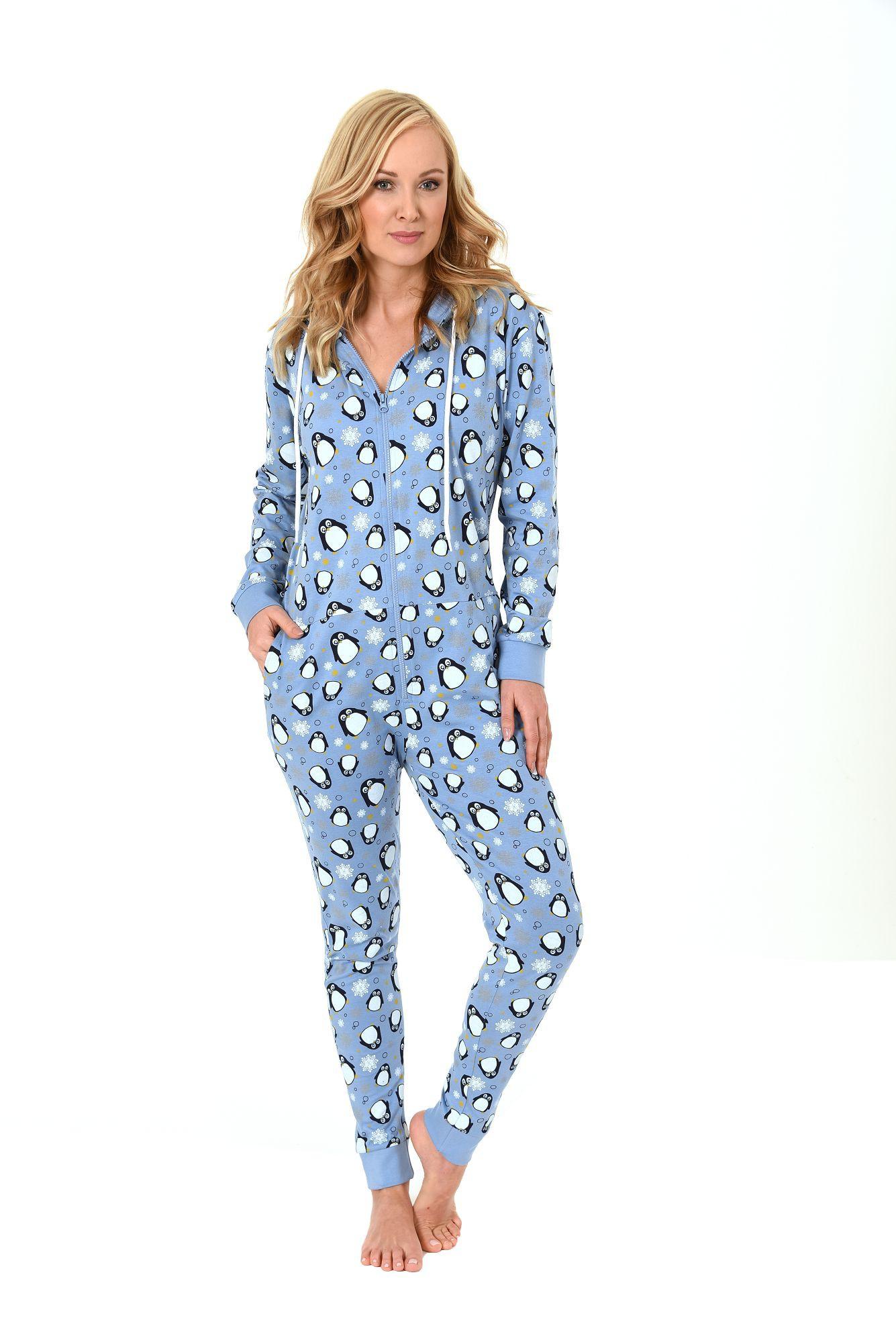 8ddae0692a283a Damen Schlafanzug Einteiler Jumpsuit Overall langarm – auch in Übergrössen  – mit tollen Motiv