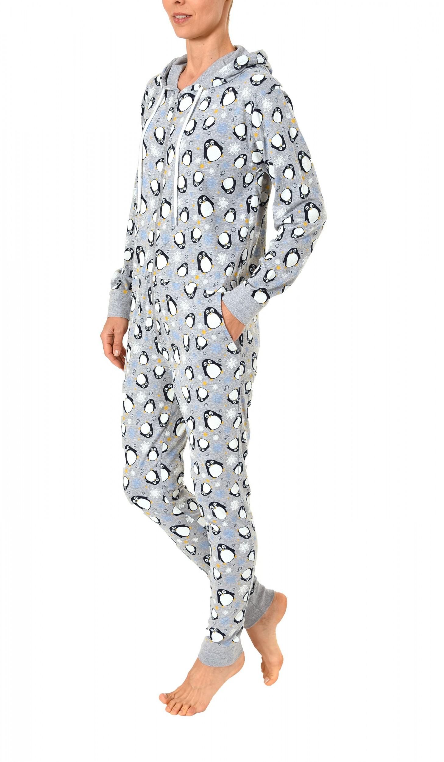 Damen Schlafanzug Einteiler Jumpsuit Overall langarm – auch in Übergrössen – mit tollen Motiv  – Bild 4