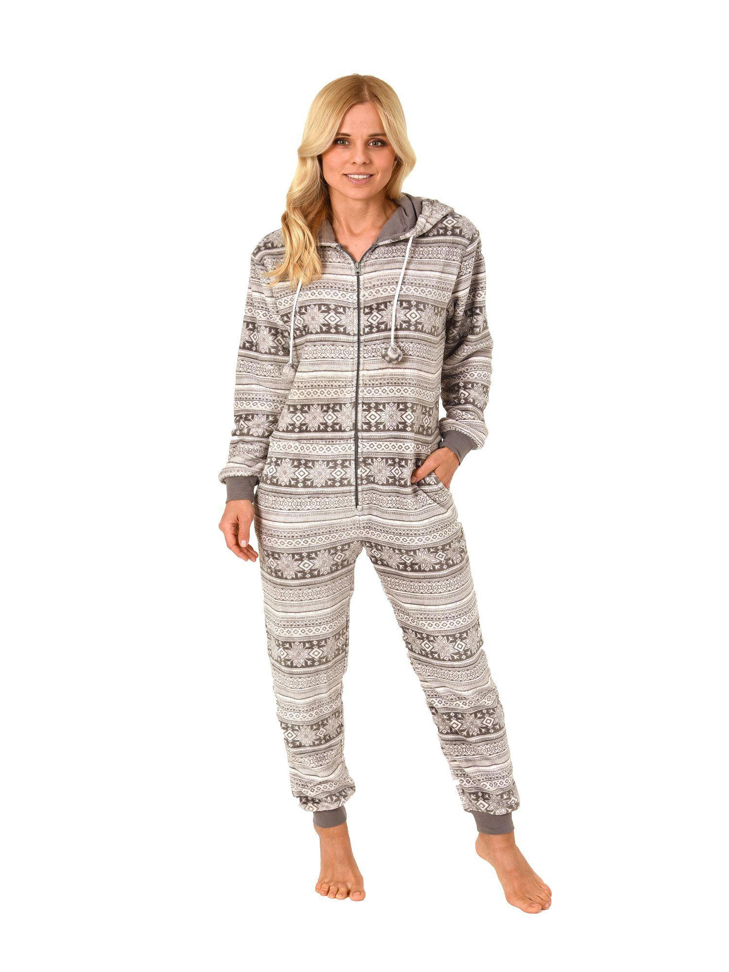 check out b9ae8 98b30 Damen Schlafanzug Einteiler Jumpsuit Onesie Overall langarm im Norweger  Look– 267 97 003