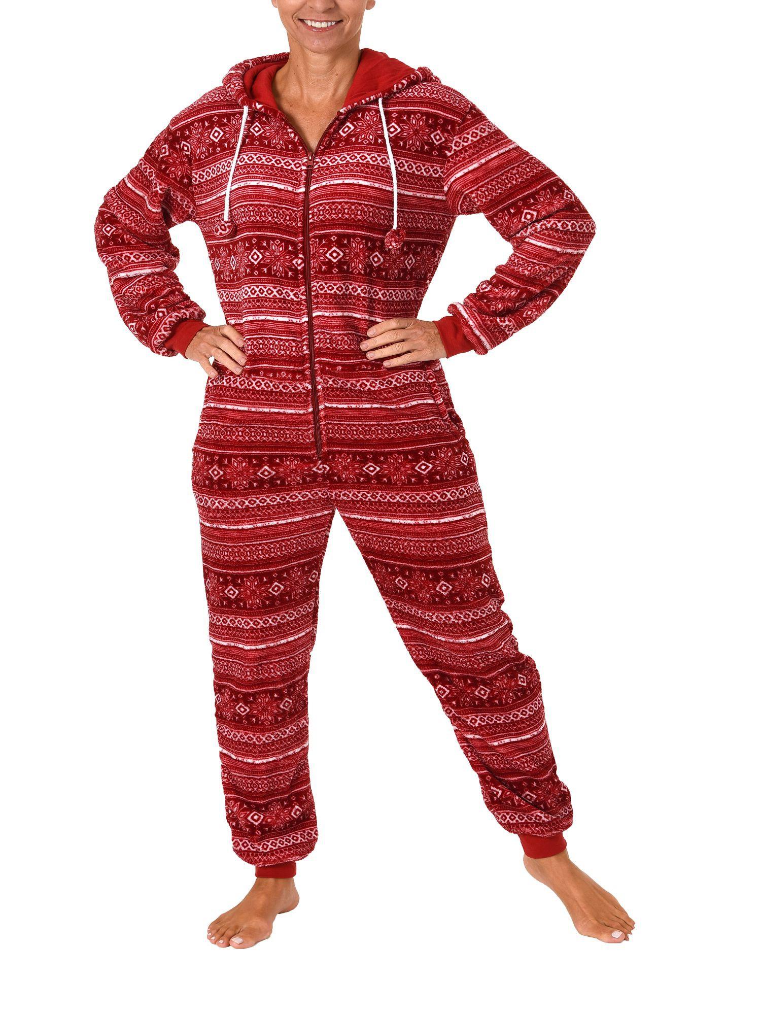 Damen Schlafanzug Einteiler Jumpsuit Onesie Overall langarm im Norweger Look– 267 97 003 – Bild 3