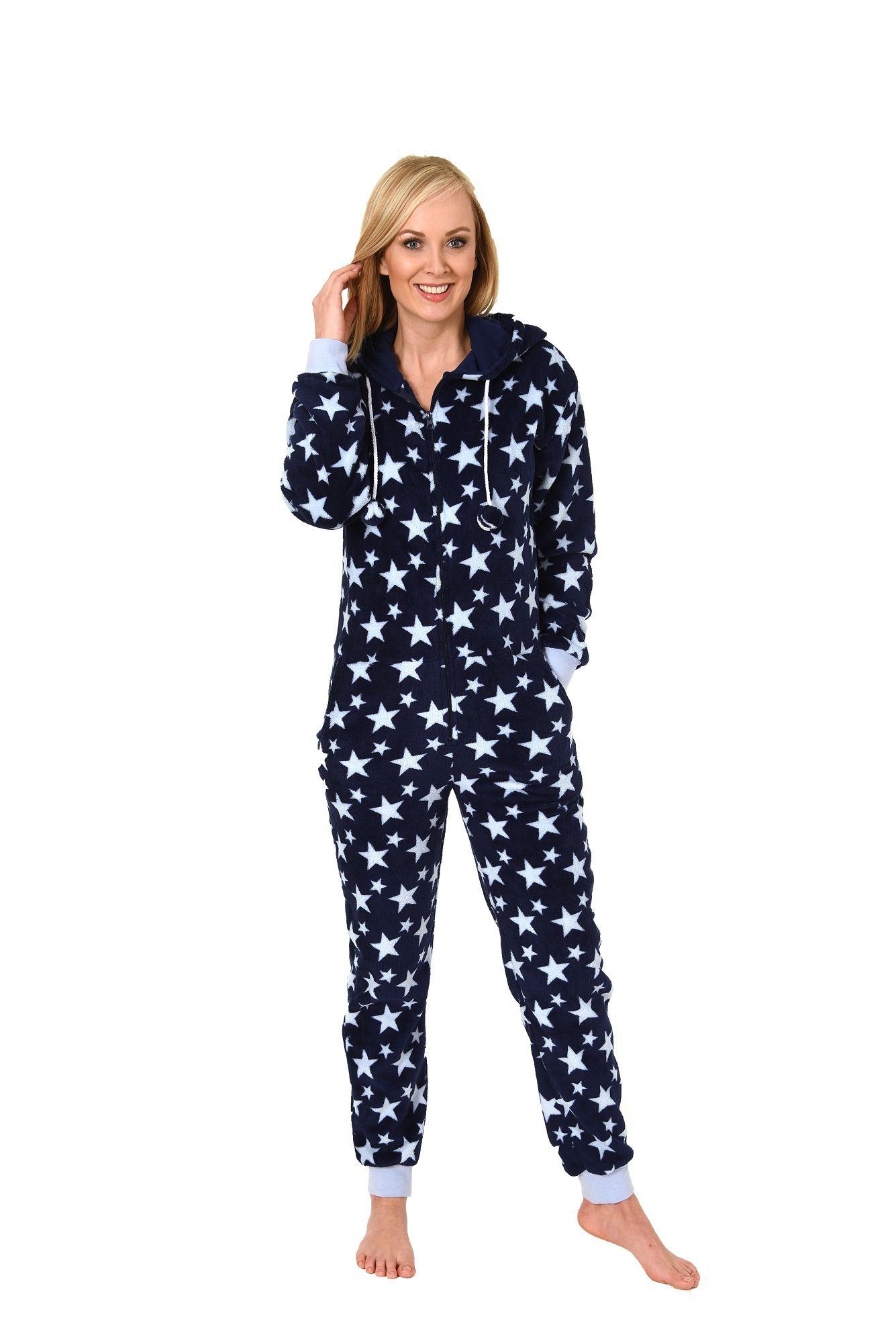 68af61d095f9de Damen Schlafanzug Einteiler Jumpsuit Onesie Overall langarm im coolen Look–  267 97 004