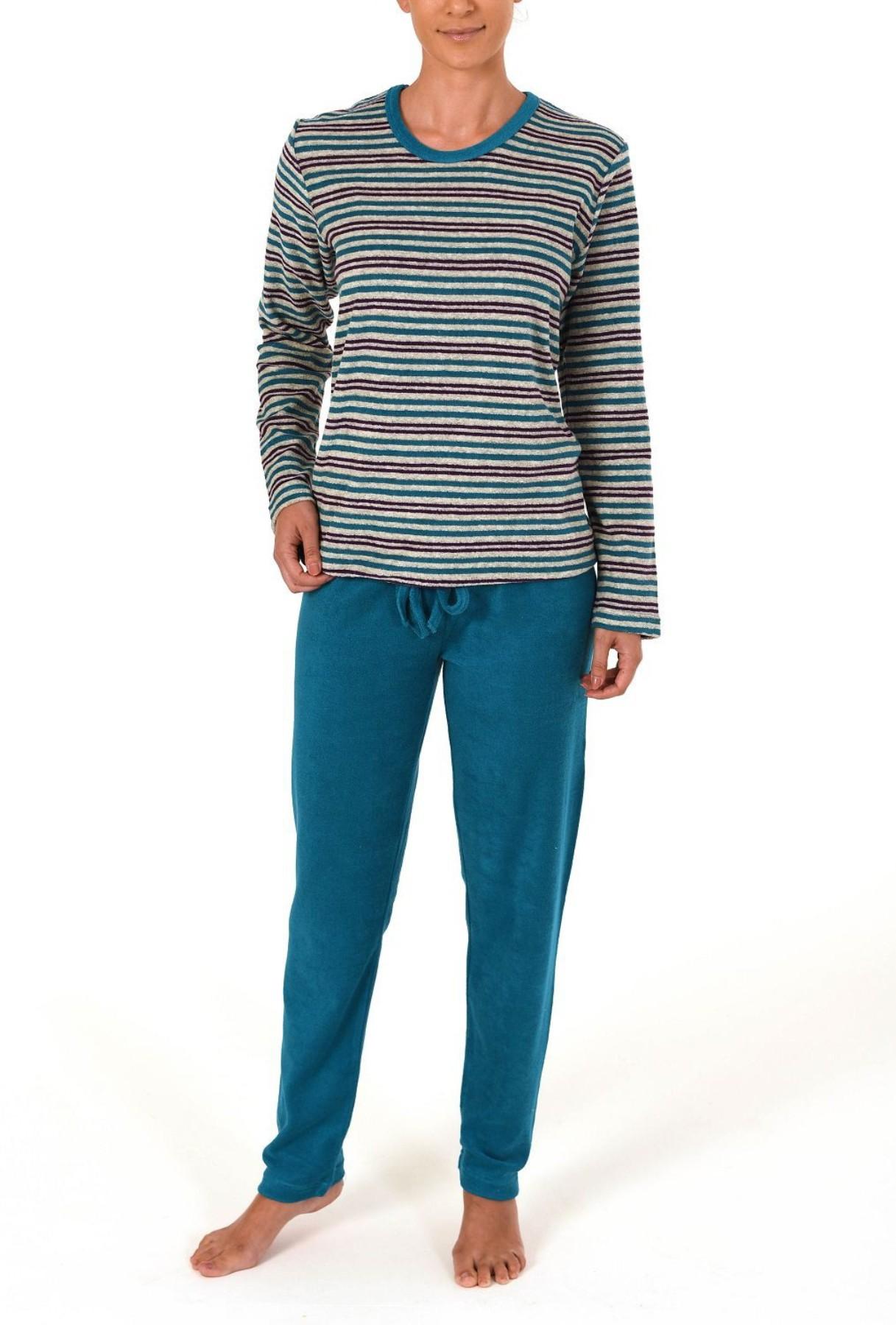 Damen Frottee Pyjama lang mit Bindeband – Streifendesign – 59497 – Bild 2