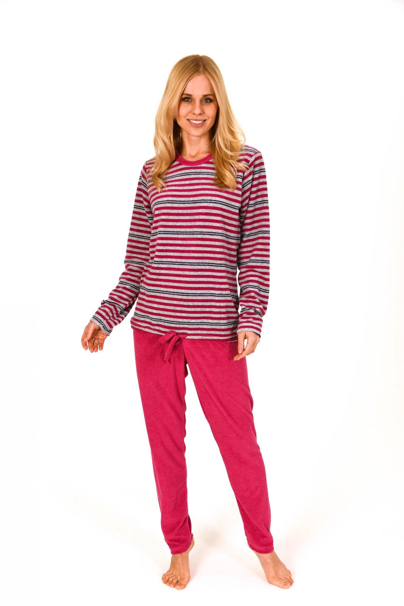 Damen Frottee Pyjama lang mit Bindeband – Streifendesign – 59497 – Bild 1