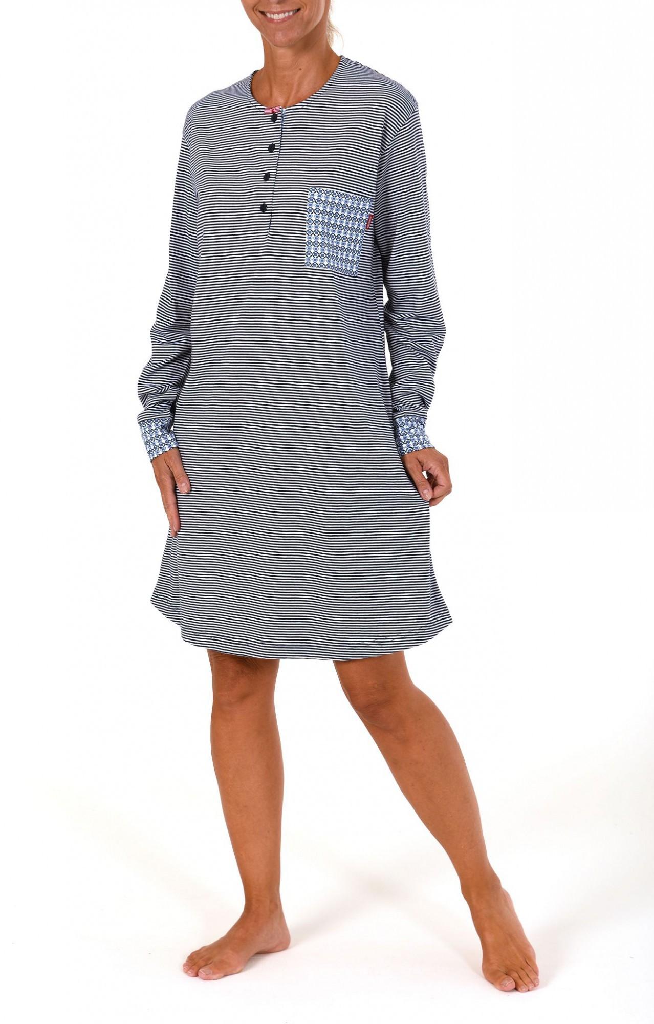 Cooles Damen Nachthemd langarm mit Bündchen – 59600